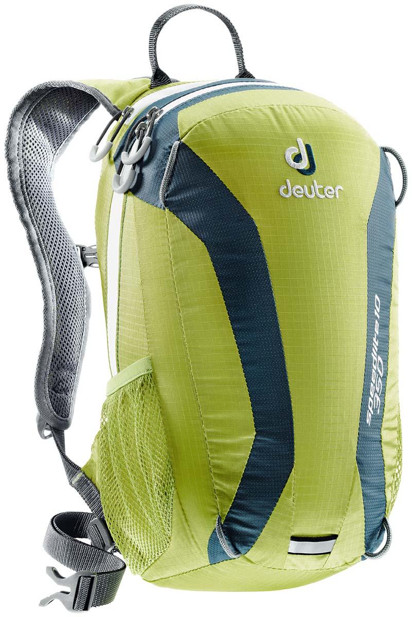 Рюкзак Deuter Speed lite 10, цвет: светло-зеленый, 10 л33101_2314Deuter Speed lite - сверхлегкий спортивный рюкзак для быстроногих атлетов. Вы почти не почувствуете его вес во время гонок по горам, соревнований по ски, туру, велосипедных марафонов, катаясь на равнинных лыжах, и даже просто догоняя уходящий автобус. Особенности: Двойные компрессионные стропы для крепления лыж. Чтобы сжать рюкзак максимально, можно перекинуть их на фронтальную часть; Каркас из пластика Delrin® U-образной формы; V- образный крой для свободного движения рук во время бега, лыжной гонки или при лазании; Анатомическая спинка, обшитая Wide AirMesh (в моделях 10 и 15); Регулируемый по высоте нагрудный ремень; Усиленное дно; 3M отражатели; Боковые сетчатые карманы обеспечивают быстрый доступ к энергетическим батончикам или к питьевой бутылке; Карман на молнии для мелочей; Молнии с удобными петлями под палец.Размер: 40 х 23 х 13 см.