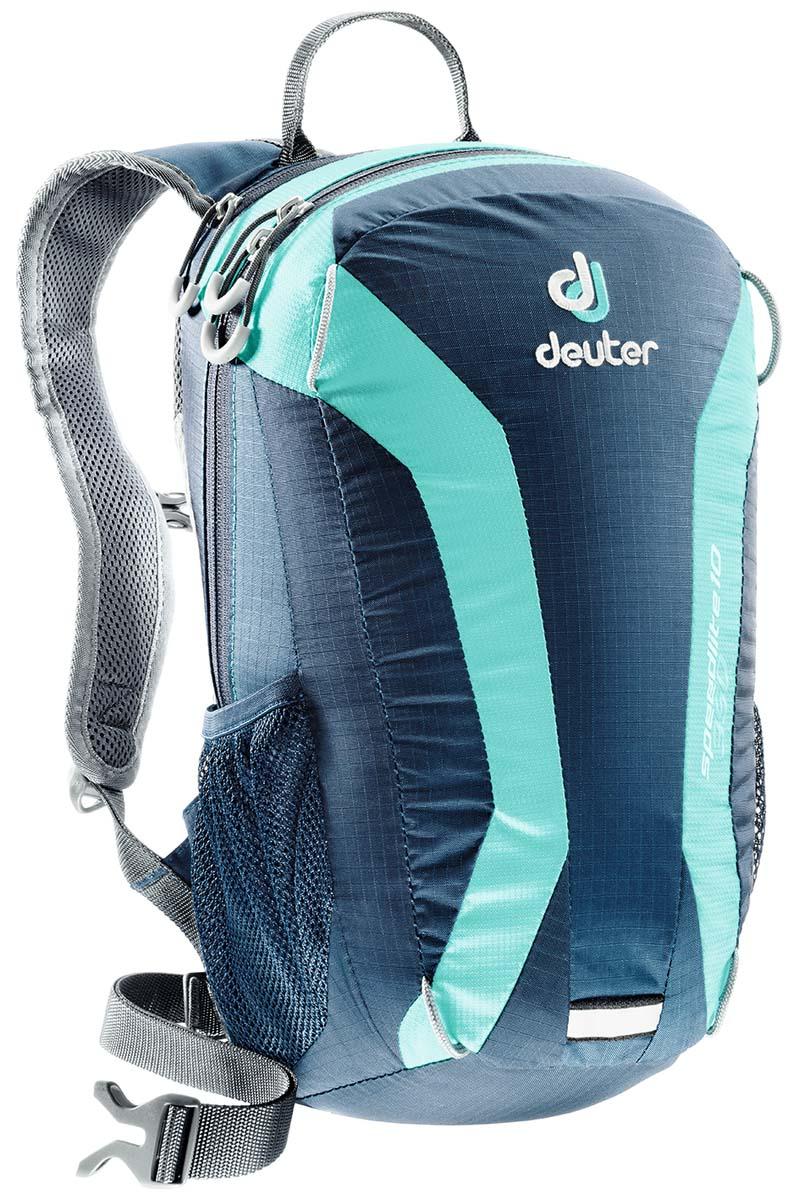 Рюкзак Deuter Speed lite 10, цвет: темно-синий, 10 л33101_3218Deuter Speed lite - сверхлегкий спортивный рюкзак для быстроногих атлетов. Вы почти не почувствуете его вес во время гонок по горам, соревнований по ски, туру, велосипедных марафонов, катаясь на равнинных лыжах, и даже просто догоняя уходящий автобус. Особенности: Двойные компрессионные стропы для крепления лыж. Чтобы сжать рюкзак максимально, можно перекинуть их на фронтальную часть; Каркас из пластика Delrin® U-образной формы; V- образный крой для свободного движения рук во время бега, лыжной гонки или при лазании; Анатомическая спинка, обшитая Wide AirMesh; Регулируемый по высоте нагрудный ремень; Усиленное дно; 3M отражатели; Боковые сетчатые карманы обеспечивают быстрый доступ к энергетическим батончикам или к питьевой бутылке; Карман на молнии для мелочей; Молнии с удобными петлями под палец.Размер: 40 х 23 х 13 см.