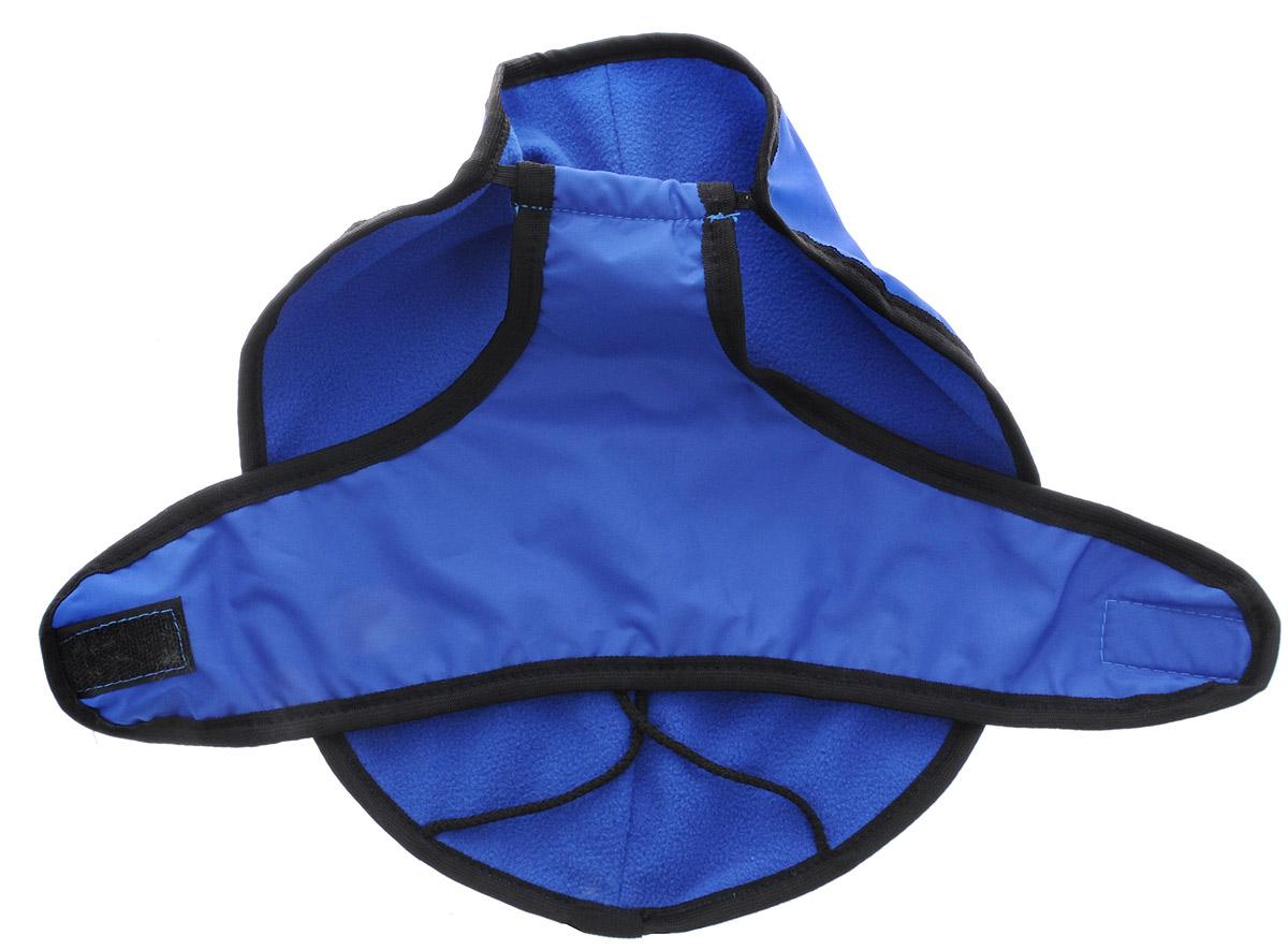 Попона для собак ЗооМарк, цвет: синий, черный кант. Размер: 1П-1_синийПопона для собак ЗооМарк отлично подойдет для прогулок в прохладное время года.Попона изготовлена из оксфорда, защищающего от ветра и осадков, а на подкладке используется флис, который отлично сохраняет тепло и обеспечивает воздухообмен. Попона оснащена веревочками-прорезями для ног и застегивается на липучку. Ворот оснащен резинкой, благодаря чему ее легко надевать и снимать.Благодаря такой попоне питомцу будет тепло и комфортно в любое время года.