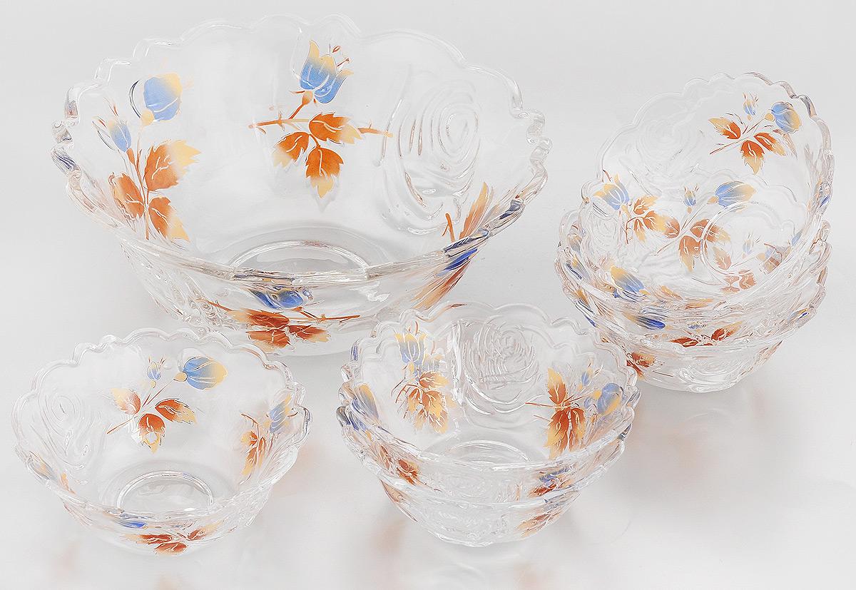 Набор салатников Loraine, 7 предметов. 22759115510Набор Loraine состоит из 7 салатников (1 салатник большой и 6 малых). Изделия, изготовленные из высококачественного стекла, сочетают в себе изысканный дизайн с максимальной функциональностью. Они идеально подходят для сервировки стола, а также подачи закусок, солений и других блюд. Такие салатники прекрасно впишутся в интерьер вашей кухни и станут достойным дополнением к кухонному инвентарю.Нельзя мыть в посудомоечной машине и использовать на открытом огне.Подходят для хранения в холодильнике.Диаметр большого салатника (по верхнему краю): 23 см.Высота большого салатника: 9,5 см. Диаметр малого салатника (по верхнему краю): 12 см.Высота малого салатника: 5 см.