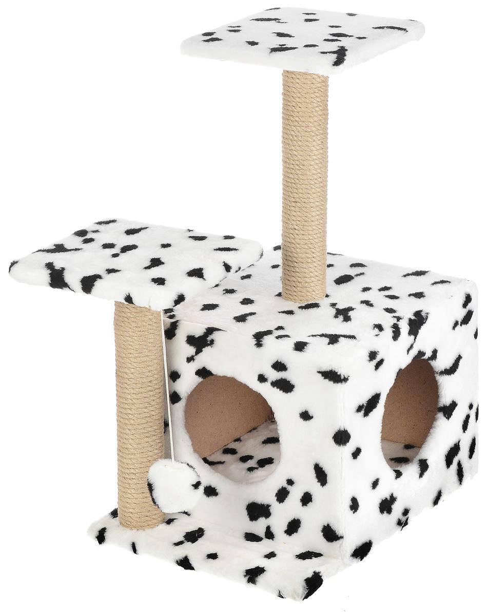 Игровой комплекс для кошек Меридиан, с домиком и когтеточкой, цвет: белый, черный, бежевый, 45 х 47 х 75 см4640000930677Игровой комплекс для кошек Меридиан выполнен из высококачественного ДВП и ДСП и обтянут искусственным мехом. Изделие предназначено для кошек. Ваш домашний питомец будет с удовольствием точить когти о специальный столбик, изготовленный из джута. А отдохнуть он сможет либо на полках разной высоты, либо в расположенном внизу домике. Также комплекс оснащен подвесной игрушкой, которая привлечет вашего питомца.Общий размер: 45 х 47 х 75 см.Размер домика: 45 х 36 х 32 см.Высота полок (от пола): 75 см, 45 см.Размер полок: 26 х 26 см.