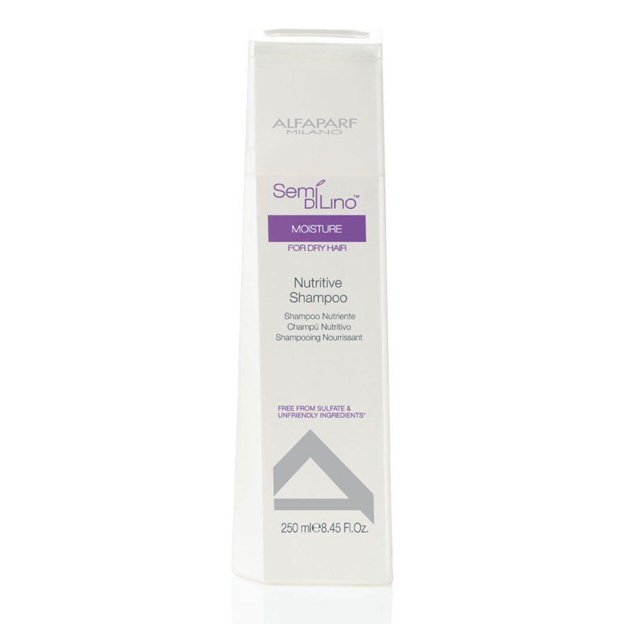 Alfaparf Шампунь для сухих волос Semi Di Lino Moisture Nutritive Shampoo 250 млFS-00897Alfaparf Semi DiLino Moisture Nutritive Shampoo Шампунь для сухих волос способствует увлажнению волос по всей длине, сохраняет интенсивность цвета волос, мягко очищает их. В состав шампуня Alfaparf входят такие компоненты, как экстракт овса, который стабилизирует липидные цепочки и надёжно защищает волосы от обезвоживания. Входящий в состав шампуня Альфапарф Semi Di Lino Moisture Nutritive экстракт мёда сохраняет влагу внутри волоса, а экстракт льна, обогащённый жирными кислотами Омега 3 и Омега 6 эффективно разглаживает волосы и придаёт им красивый блеск.С помощью производных кашемира стабилизируется протеиновый баланс волос, благодаря чему волосы становятся здоровыми и приобретают яркий и естественный цвет.