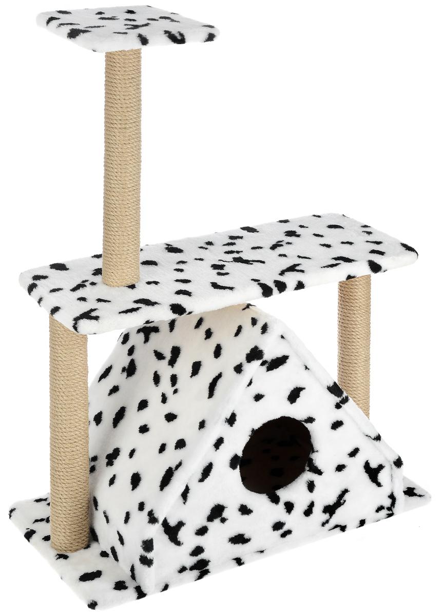 Игровой комплекс для кошек Меридиан, с двумя полками, цвет: белый, черный, бежевый, 68 х 39 х 104 см12171996Игровой комплекс для кошек Меридиан выполнен из высококачественного ДВП и ДСП и обтянут искусственным мехом. Изделие предназначено для кошек. Ваш домашний питомец будет с удовольствием точить когти о специальные столбики, изготовленные из джута. А отдохнуть он сможет либо на полках, либо в расположенном внизу домике.Общий размер: 68 х 39 х 104 см.Размер домика: 51 х 39 х 45 см.Размер большой полки: 68 х 30 см.Размер малой полки: 25 х 25 см.