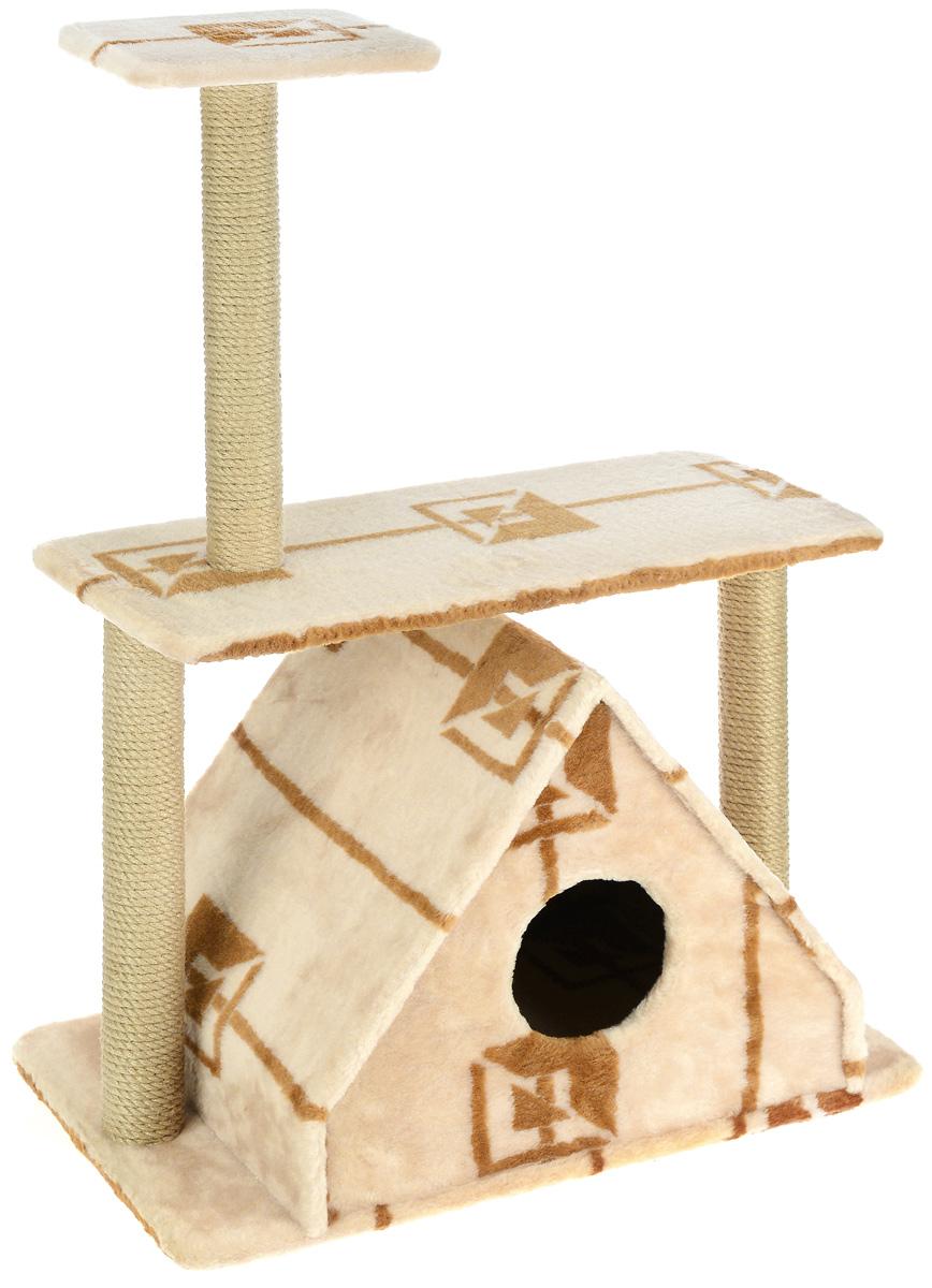 Игровой комплекс для кошек  Меридиан , с двумя полками, цвет: коричневый, бежевый, 68 х 39 х 104 см - Когтеточки и игровые комплексы