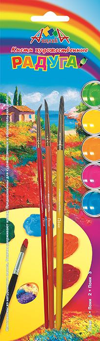 Апплика Набор кистей из волоса пони Радуга №1, 2, 3 (3 шт)670013Кисти из набора Апплика идеально подойдут для детского творчества, художественных и декоративно-оформительских работ. Кисти из натурального ворса пони разных размеров предназначены для работы с акварелью, гуашью, тушью. Конусообразная форма пучка позволяет прорисовывать мелкие детали и выполнять заливку фона. В набор входят кисти №1, 2,и 3