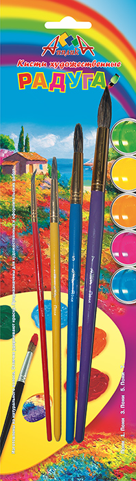 Апплика Набор кистей из волоса пони Радуга №1, 3, 5, 7 (4 шт)C13S041944Кисти из набора Апплика идеально подойдут для детского творчества, художественных и декоративно-оформительских работ. Кисти из натурального ворса пони разных размеров предназначены для работы с акварелью, гуашью, тушью. Конусообразная форма пучка позволяет прорисовывать мелкие детали и выполнять заливку фона. В набор входят кисти №1, 3, 5 и 7