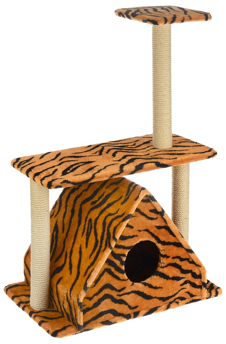 Игровой комплекс для кошек Меридиан, с двумя полками, цвет: оранжевый, черный, бежевый, 68 х 39 х 104 см0120710Игровой комплекс для кошек Меридиан выполнен из высококачественного ДВП и ДСП и обтянут искусственным мехом. Изделие предназначено для кошек. Ваш домашний питомец будет с удовольствием точить когти о специальные столбики, изготовленные из джута. А отдохнуть он сможет либо на полках, либо в расположенном внизу домике.Общий размер: 68 х 39 х 104 см.Размер домика: 51 х 39 х 45 см.Размер большой полки: 68 х 30 см.Размер малой полки: 25 х 25 см.