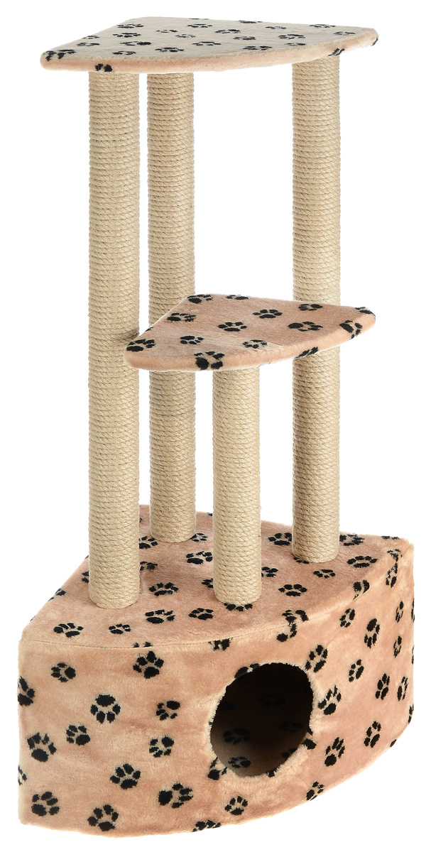 Игровой комплекс для кошек Меридиан, 3-ярусный, угловой, с домиком и когтеточкой, цвет: бежевый, черный, 42 х 42 х 110 см0120710Игровой комплекс для кошек Меридиан выполнен из высококачественного ДВП и ДСП и обтянут искусственным мехом. Изделие предназначено для кошек. Комплекс имеет 3 яруса. Ваш домашний питомец будет с удовольствием точить когти о специальные столбики, изготовленные из джута. А отдохнуть он сможет либо на полках, либо в расположенном внизу домике.Общий размер: 42 х 42 х 110 см.Размер домика: 42 х 42 х 28 см.Размер большой полки: 35 х 35 см.Размер малой полки: 26 х 26 см.