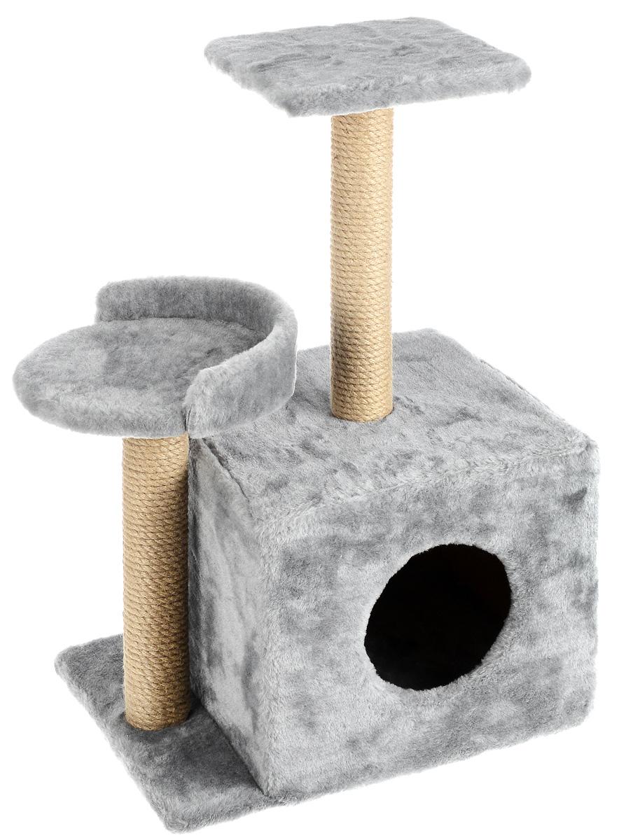 Игровой комплекс для кошек Меридиан, с домиком и когтеточкой, цвет: светло-серый, бежевый, 35 х 45 х 75 см101246Игровой комплекс для кошек Меридиан выполнен из высококачественного ДВП и ДСП и обтянут искусственным мехом. Изделие предназначено для кошек. Ваш домашний питомец будет с удовольствием точить когти о специальные столбики, изготовленные из джута. А отдохнуть он сможет либо на полках разной высоты, либо в расположенном внизу домике.Общий размер: 35 х 45 х 75 см.Размер домика: 46 х 37 х 33 см.Высота полок (от пола): 74 см, 45 см.Размер полок: 27 х 27 см, 26 х 26 см.