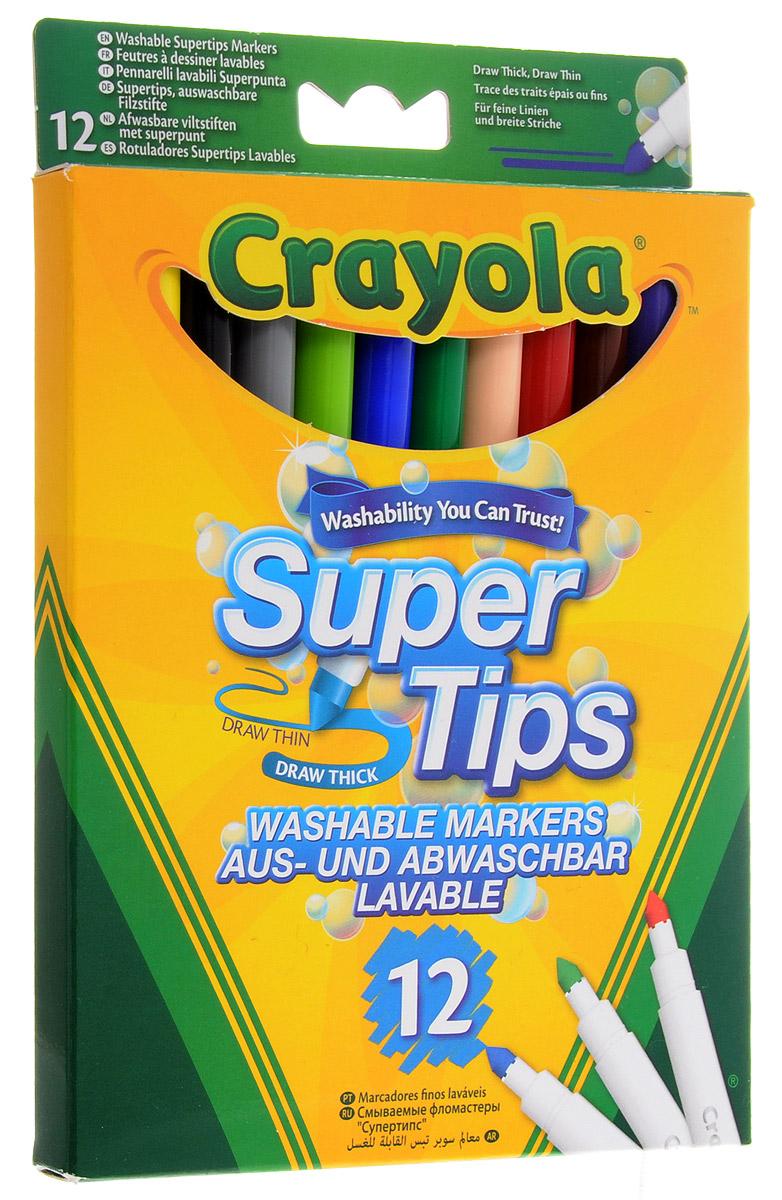 Crayola Фломастеры смываемые Supertips 12 цветовFS-00103Легкость смываемых фломастеров Crayola Supertips снижает усталость при интенсивном письме и рисовании, а полученные рисунки, благодаря яркости и насыщенности чернил, долгое время не блекнут и не выцветают.Особое устройство маркеров не позволяет вдавить стержень внутрь, при этом фибровый наконечник не скрипит и не ломается. Изготовлены фломастеры из экологически чистых материалов, соответствующих Европейским нормам безопасности.Созданные на основе растительных красителей, фломастеры Crayola легко смываются как с рук, так и с одежды ребёнка. Удобная форма и яркие насыщенные цвета являются ещё одним неоспоримым преимуществом этих чудесных фломастеров. Создавая новые шедевры на листе бумаге или ваших любимых обоях, малыш совершенствует творческие навыки, оттачивая мастерство мелкой моторики рук. Не нужно бояться разукрашенных стен, ведь превосходный рисунок вашего чада легко отмыть обычной водой!