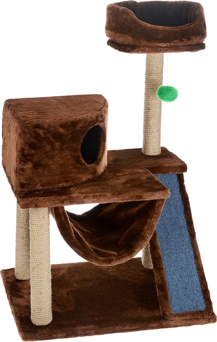 Игровой комплекс для кошек ЗооМарк Мурка, цвет: коричневый, бежевый, 60 х 45 х 120 см0120710Игровой комплекс для кошек ЗооМарк Мурка выполнен из высококачественного дерева и обтянут искусственным мехом. Изделие предназначено для кошек. Комплекс имеет 3 яруса. Ваш домашний питомец будет с удовольствием точить когти о специальные столбики, изготовленные из джута. Также точить когти поможет площадка, оснащенная вставкой из ковролина. А отдохнуть он сможет либо на полках, либо домике или гамаке. На одной из полок расположена игрушка, которая еще сильнее привлечет внимание питомца.Общий размер: 60 х 45 х 120 см.Размер домика: 37 х 37 х 25 см.Диаметр верхней полки: 30 см.Уважаемые покупатели!Обращаем ваше внимание на тот факт, что размеры могут незначительно отличаться в пределах 3-4 см в высоту и ширину.