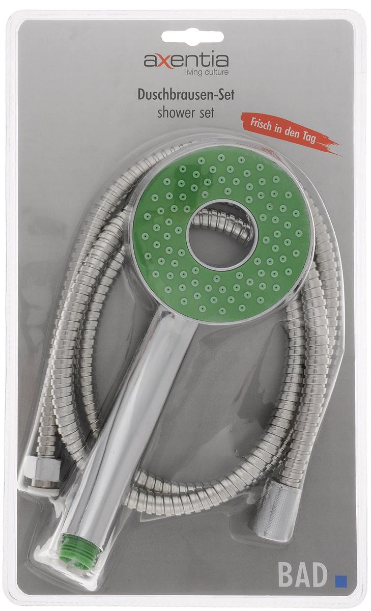 Набор для душа Axentia, цвет: стальной, зеленый, 3 предметаZM-10914Набор для душа Axentia состоит из душа-лейки, шланга из нержавеющей стали и держателя душа для крепления к стене. Душевая лейка изготовлена из высокопрочного ABS пластика, покрытого никель-хромом для придания зеркального блеска. Шланг имеет оплетку из нержавеющей стали. Стеновое крепление с саморезами и пластиковыми дюбелями. Такой набор украсит ванную комнату и будет служить вам долгое время. Длина шланга: 1,5 м. Диаметр лейки: 9,5 см. Диаметр шланга: 13 мм.