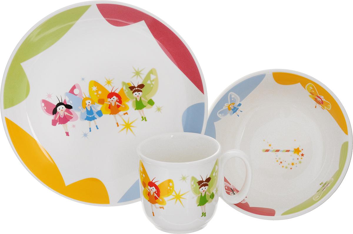 Набор детской посуды Tescoma Bambini. Феи, 3 предмета54 009312Набор детской посуды Tescoma Bambini. Феи включает суповую тарелку, обеденную тарелку и кружку. Изделия выполнены из высококачественного глазурованного фарфора и декорированы изображением фей. Такой набор обязательно понравится вашему ребенку, потому что теперь у него будет своя собственная посуда с ярким и оригинальным детским рисунком. Набор подходит для микроволновой печи, пригоден для мытья в посудомоечной машине. Объем кружки: 300 мл. Диаметр кружки (по верхнему краю): 8 см. Высота кружки: 8 см. Диаметр суповой тарелки: 15 см. Высота стенки суповой тарелки: 5,5 см. Диаметр обеденной тарелки: 21 см.
