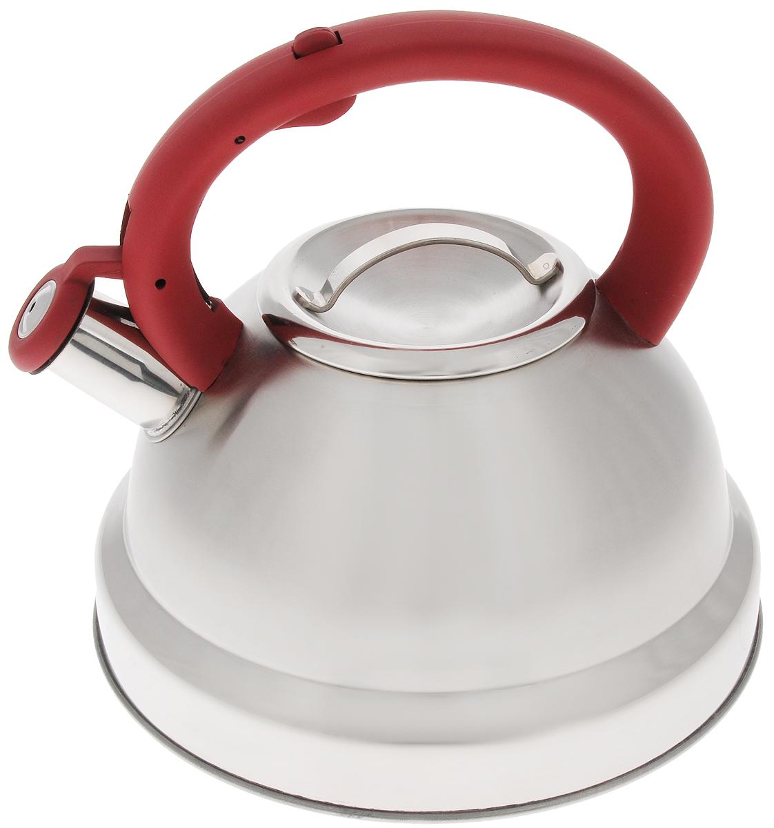 Чайник Mayer & Boch, со свистком, 3,5 л. 21419115510Чайник Mayer & Boch выполнен из высококачественной нержавеющей стали. Фиксированная ручка снабжена механизмом для открывания носика, что делает использование чайника очень удобным и безопасным. Носик чайника оснащен свистком, что позволит вам контролировать процесс подогрева или кипячения воды.Эстетичный и функциональный чайник будет оригинально смотреться в любом интерьере.. Подходит для всех видов плит, включая индукционные. Можно мыть в посудомоечной машине. Диаметр чайника (по верхнему краю): 10 см.Диаметр основания: 22 см. Высота чайника (с учетом ручки): 20,5 см.Диаметр индукционного диска: 17,5 см.
