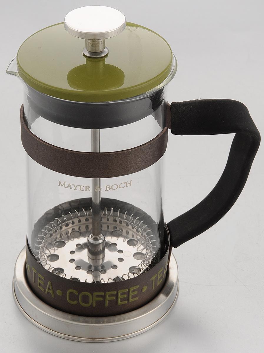 Френч-пресс Mayer & Boch, цвет: прозрачный, зеленый, 350 мл. 2491254 009312Френч-пресс Mayer & Boch изготовлен из высококачественной нержавеющей стали и жаропрочного стекла. Фильтр-поршень оснащен ситечком для обеспечения равномерной циркуляции воды. Засыпая чайную заварку или кофе под фильтр, заливая горячей водой, вы получаете ароматный напиток с оптимальной крепостью и насыщенностью. Остановить процесс заваривания легко, для этого нужно просто опустить поршень вниз, оставляя напиток, готовый к употреблению. Изделие оснащено эргономичной прорезиненной ручкой, она обеспечит безопасный и удобный хват. Такой френч-пресс позволит быстро и просто приготовить свежий и ароматный кофе или чай. Можно мыть в посудомоечной машине.Не использовать в микроволновой печи.Диаметр колбы (по верхнему краю): 7,5 см. Высота френч-пресса (без учета крышки): 14,5 см.Высота френч-пресса (с учетом крышки): 17,5 см.