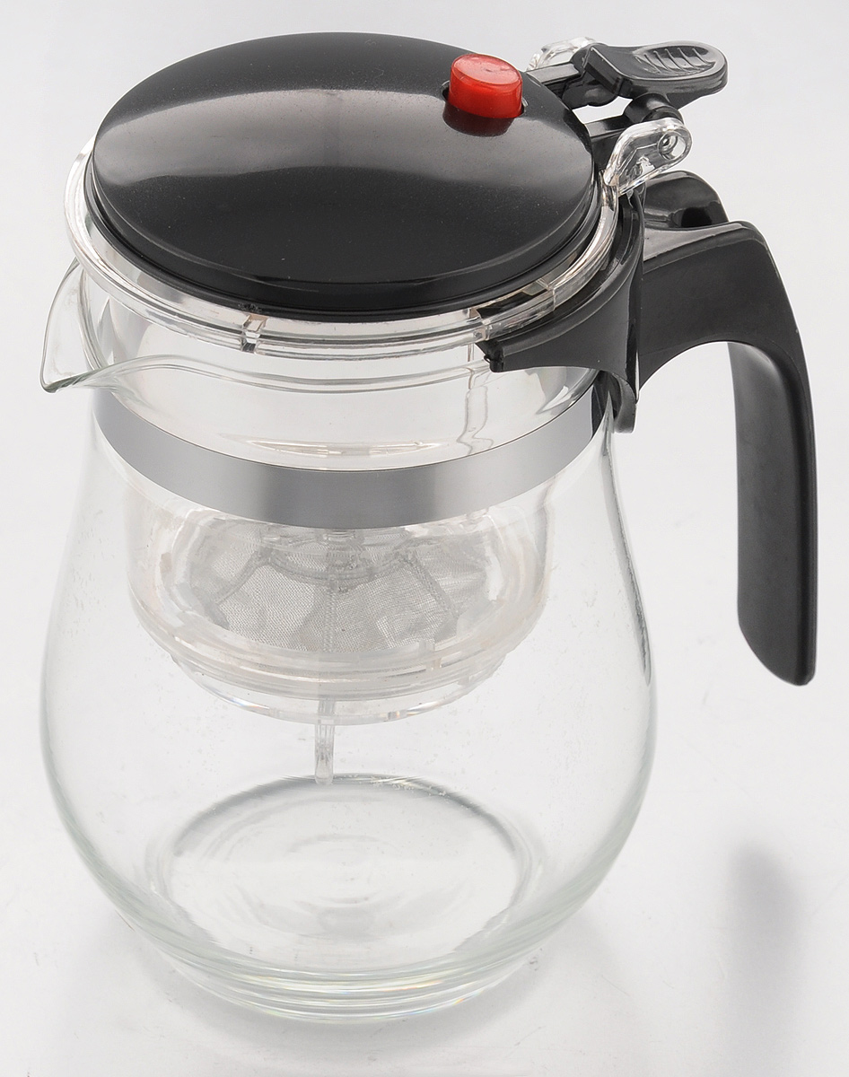 Чайник заварочный Mayer & Boch, с фильтром и клапаном, 500 млFS-91909Чайник заварочный Mayer & Boch изготовлен извысококачественного термостойкого стекла ипластика. Заварочный чайник удобен в использовании, любой человек, даже не имеющий большого опыта в заваривании чая, сможет заварить в нем чай до правильной консистенции без риска перезаварить чай. При нажатии на кнопку заваренный настой из фильтра переливается в нижнюю часть чайника, процесс заварки останавливается, а чаинки остаются в фильтре.Диаметр чайника (по верхнему краю): 7 см.Высота чайника (с учетом крышки): 14,5 см.