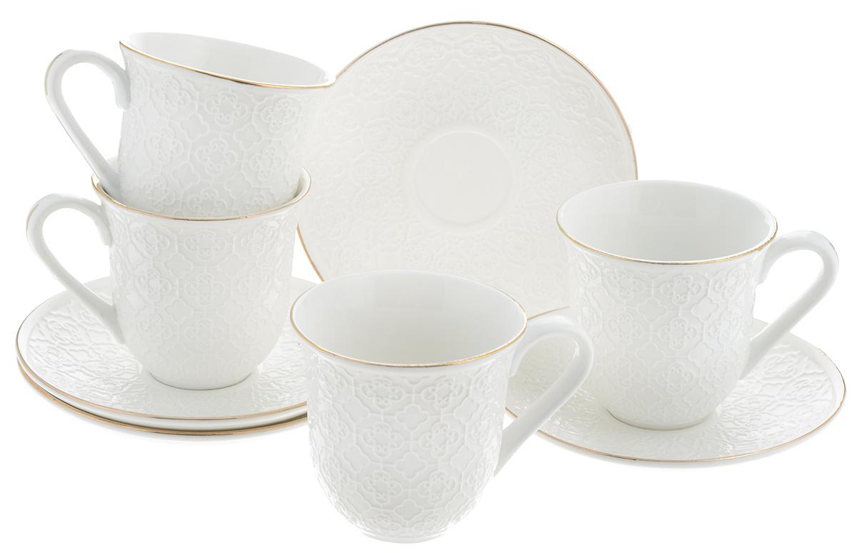 Набор чайный Loraine, 8 предметов. 2577433010000Чайный набор Loraine состоит из 4 чашек и 4 блюдец, выполненных из высококачественного костяного фарфора. Изделия прекрасно дополнят сервировку стола к чаепитию. Благодаря изысканному дизайну и качеству исполнения такой набор станет замечательным подарком для ваших друзей и близких. Набор упакован в подарочную коробку, задрапированную белой атласной тканью. Объем чашки: 240 мл. Диаметр чашки (по верхнему краю): 8,2 см. Высота чашки: 8 см. Диаметр блюдца: 14,4 см.Высота блюдца: 2 см.