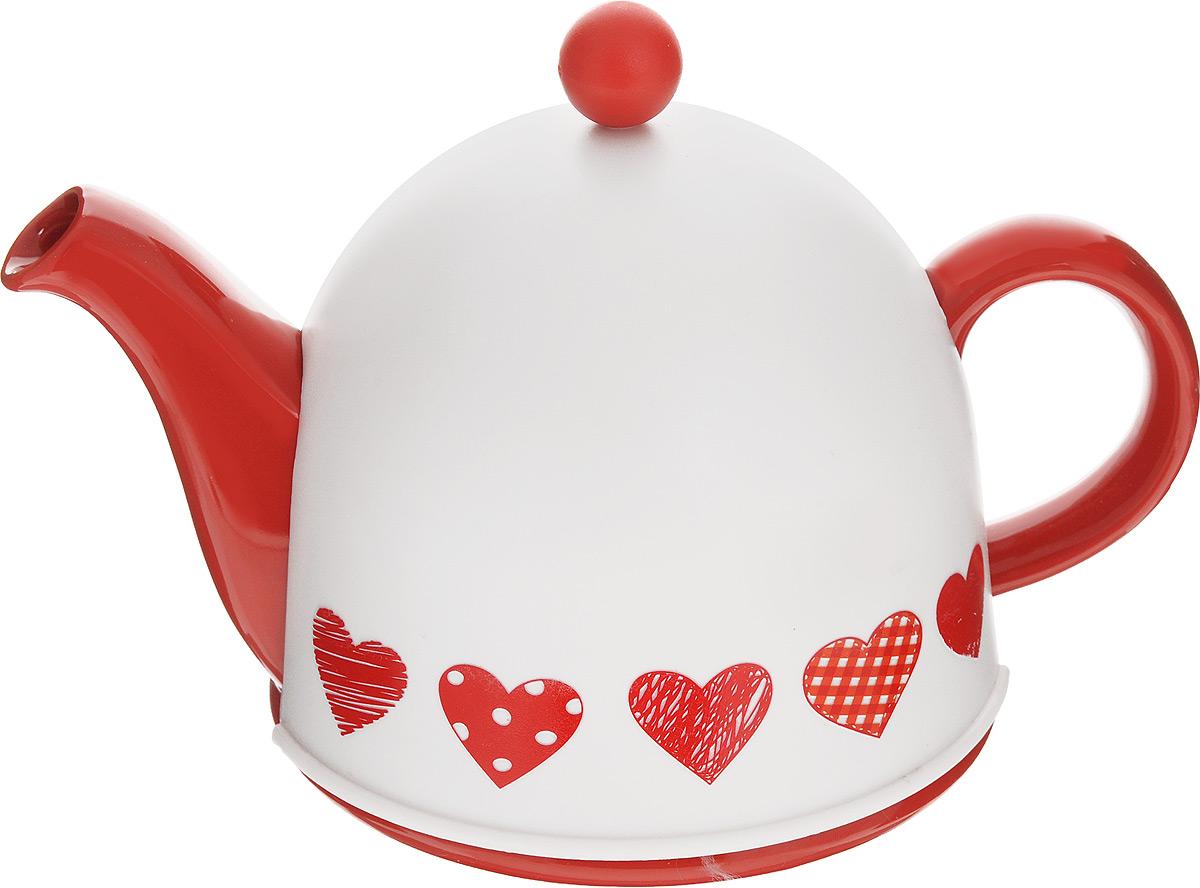 Чайник заварочный Mayer & Boch, с термоколпаком, цвет: белый, красный, 800 млVT-1520(SR)Заварочный чайник Mayer & Boch, выполненный из керамики, позволит вам заваритьсвежий, ароматный чай. Чайник оснащен сетчатым фильтром из нержавеющей стали. Он задерживает чаинки ипредотвращает их попадание в чашку. Сверху на чайник одевается термоколпак из пластика стканевой прослойкой. Он поможет дольше удерживать тепло, а значит, вода в чайнике дольшебудет оставаться горячей, а полезные и ароматические вещества полностью сохранятся в напитке. Заварочный чайник Mayer & Boch послужит хорошим подарком для друзей и близких.Высота чайника (без учета ручки и крышки): 9,5 см.Размер термоколпака: 15 см х 15 см х 13 см.