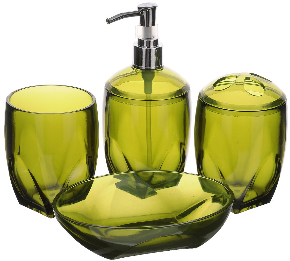Набор для ванной комнаты Aqva Line Олива, 4 предмета10503Набор для ванной комнаты Aqua Line Олива включает стакан,подставку для зубных щеток, мыльницу и диспенсер для жидкогомыла с металлическим дозатором. Набор выполнен из прочного цветного пластика высокого качества. Все элементы выдержаны в одном стиле, что позволяет создать вванной комнате стильный и оригинальный функционально-декоративный ансамбль. Такой набор аксессуаров придаст интерьерувашей ванной комнаты элегантность и современность. Размер мыльницы: 15 х 11 х 4 см. Размер стакана/подставки: 7,5 х 7,5 х 10 см. Размеры диспенсера: 7,5 х 7,5 х 17 см.