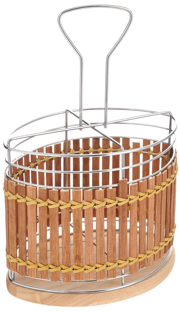 Подставка для столовых приборов Mayer & Boch, 17,5 х 12,5 х 25,5 см8633Подставка для столовых приборов Mayer & Boch изготовлена из металла с деревянной плетеной отделкой. Изделие имеет 4 секции для хранения различных столовых приборов. Дно подставки деревянное, с текстильными накладками для устойчивого положения. Для удобной переноски подставка снабжена ручкой. Оригинальная и стильная подставка для столовых приборов отлично дополнит интерьер кухни и поможет аккуратно хранить ваши столовые приборы.