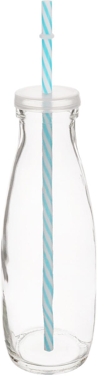 Емкость для напитков Zeller, с трубочкой, цвет: прозрачный, голубой, 475 млFD 992Емкость Zeller, выполненная из высококачественного стекла ввиде бутылки, снабжена трубочкой и пластиковой крышкой сотверстием для трубочки. Изделие предназначено для сока,воды и других напитков. Емкость очень удобна виспользовании. Она пригодится как дома, так и на даче.Диаметр по верхнему краю: 4,5 см. Высота емкости: 21 см. Длина трубочки: 26 см.