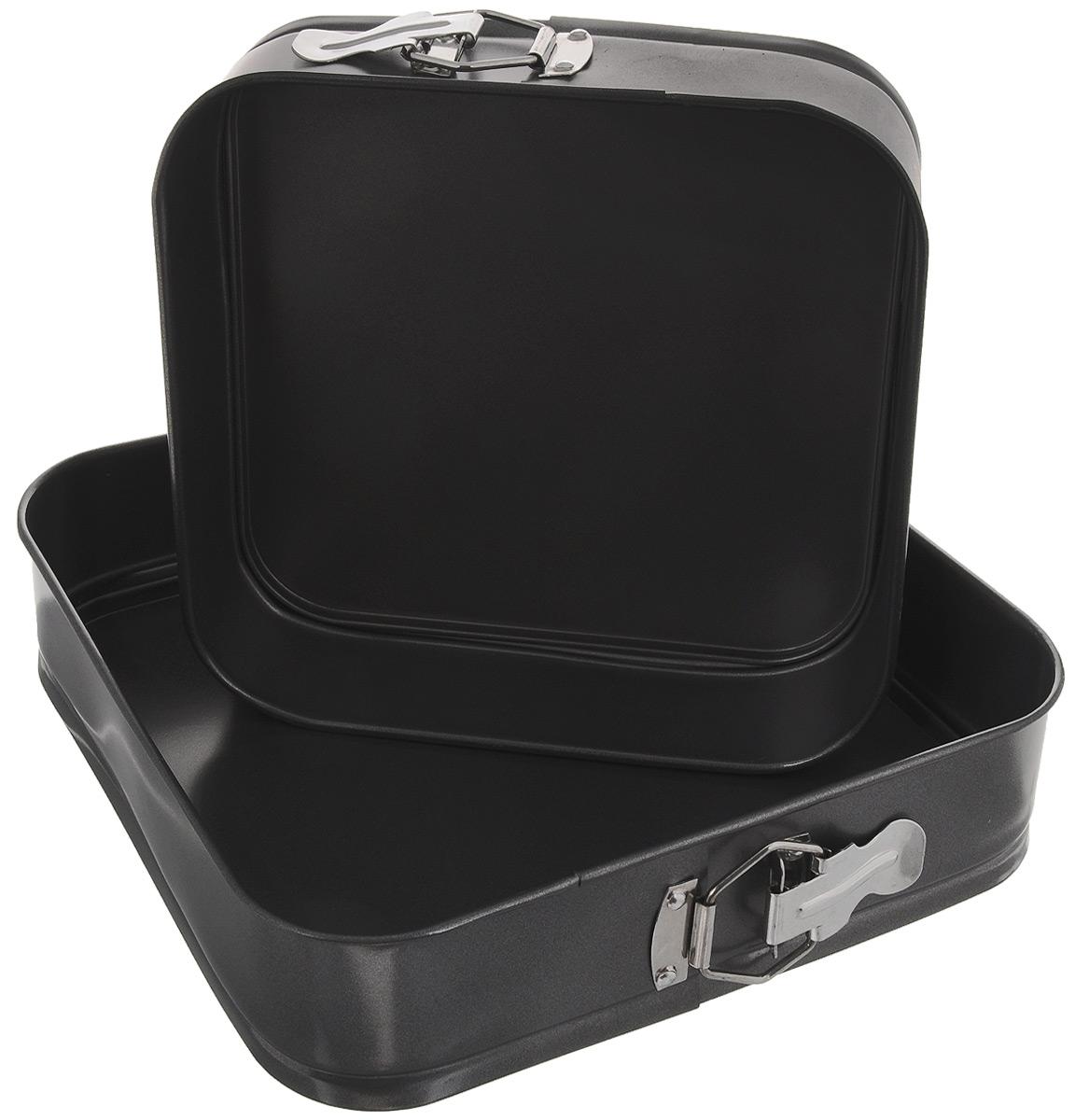 Набор форм для выпечки Mayer & Boch, квадратные, с антипригарным покрытием, 2 предмета391602Набор Mayer & Boch состоит из двух квадратных разъемных форм для выпечки разного размера, выполненных из высококачественной углеродистой стали. Современное высокотехнологичное антипригарное покрытие предотвращает пригорание выпечки и обеспечивает легкую очистку после использования. Кроме того, формы имеют разъемный механизм и съемное дно, благодаря чему готовое блюдо очень легко вынимать. Изделия складываются друг в друга по принципу матрешки, поэтому они не займут много места на кухне при хранении.Формы легкие и удобные в использовании, легко моются. С ними готовить любимые блюда станет еще проще. Подходят для использования в духовом шкафу и хранения пищи в холодильнике. Не предназначены для СВЧ-печей. Можно мыть в посудомоечной машине. Размер форм: 24 х 24 см, 28 х 28 см. Высота стенок: 6,8 см.