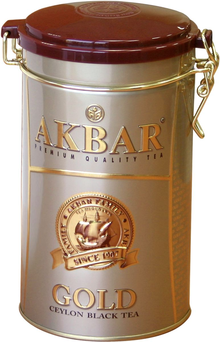 Akbar Gold черный листовой чай, 225 г4626017671079Akbar Gold - среднелистовой черный чай класса Premium, для производства которого используются только что распустившиеся листочки чайного куста, собранные на лучших горных плантациях на высоте 2000 футов над уровнем моря. Их идеальное расположение к солнцу и горный воздух, пропитанный ароматами экзотических растений, придают чаю стойкий аромат и отличающийся особой яркостью и насыщенностью цвет.Чай Akbar Gold в элегантных жестяных банках - великолепный подарок к любому празднику.