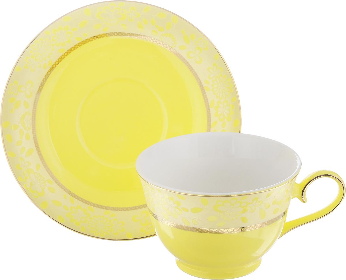 Чайная пара Patricia Симфония, цвет: желтый, золотистый, 2 предмета54 009312Чайная пара Patricia Симфония состоит из чашки и блюдца. Изделия изготовлены из фарфора высшего качества, отличающегося необыкновенной прочностью и небольшим весом. Чайная пара Patricia Симфония украсит ваш кухонный стол, а также станет замечательным подарком к любому празднику.Не рекомендуется мыть в посудомоечной машине и использовать в микроволновой печи.Объем чашки: 200 мл.Диаметр чашки (по верхнему краю): 10 см.Высота чашки: 6,7 см.Диаметр блюдца: 15,5 см.Высота блюдца: 2,2 см.