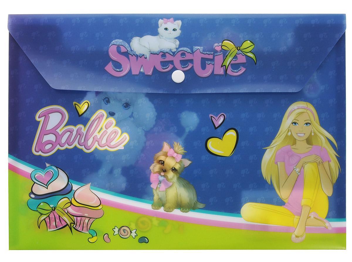 Barbie Папка-конверт Sweetie на кнопке цвет синийFS-36054Папка-конверт Sweetie - это удобный и функциональный инструмент, который идеально подойдет для хранения различных бумаг и документов формата А4. Папка с изображением любимой куколки и её питомцев изготовлена из яркого глянцевого пластика, и закрывается на практичную крышку с кнопкой. Папка-конверт - это незаменимый атрибут для студента, школьника, офисного работника. Такая папка надежно сохранит ваши документы и сбережет их от повреждений, пыли и влаги.