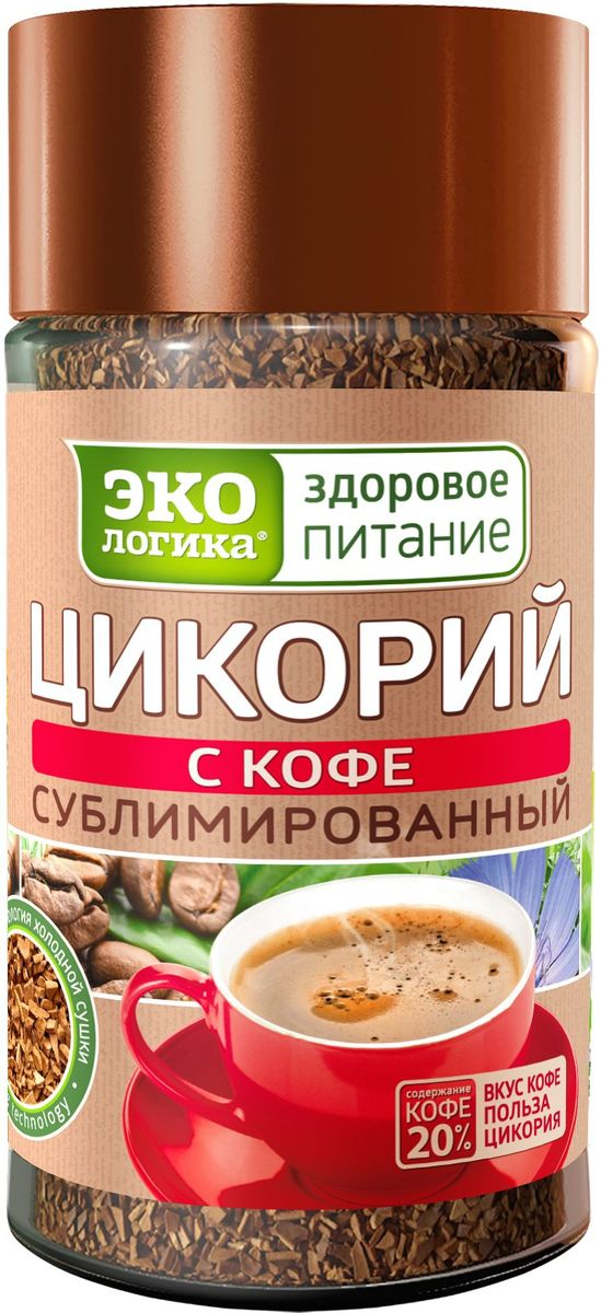 Экологика Здоровое Питание цикорий с кофе сублимированный, 85 г0120710Цикорий с кофе сублимированный Экологика Здоровое Питание оказывает комплексное благоприятное воздействие на организм (нормализует уровень сахара, способствует снижению веса, улучшает пищеварение, способствует выведению холестерина, помогает работе сердца, повышает иммунитет).Благодаря сочетанию высококачественного кофе и цикория, этот напиток обладает насыщенным, богатым вкусом натурального кофе и всеми полезными свойствами натурального цикория.Уникальная технология бережной низкотемпературной обработки позволяет сохранить в напитке все витамины, минеральные вещества и пищевые волокна.Содержит пребиотик инулин, интибин, витамины группы B, витамин C, каротин, антиоксиданты.Содержание кофе 20%.