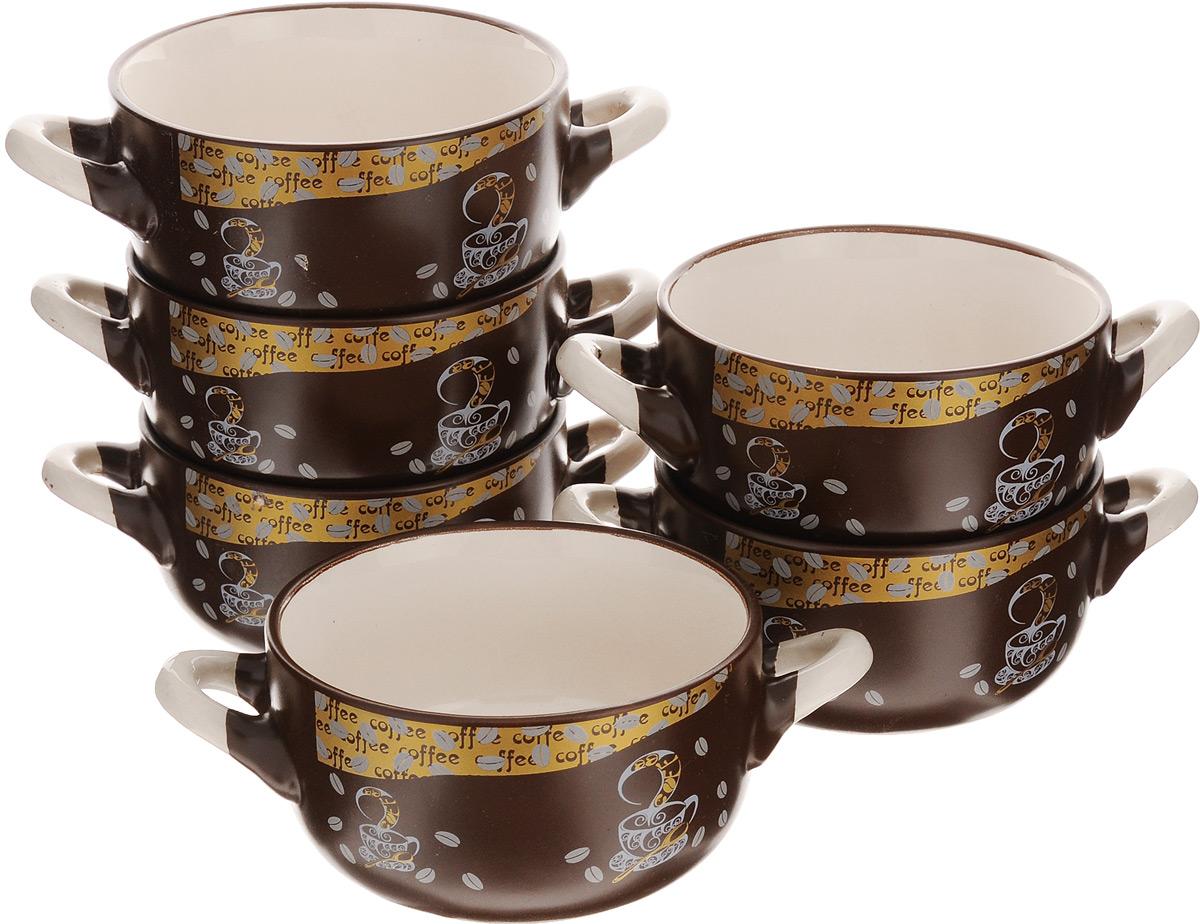Набор бульонниц Loraine, 380 мл, 6 шт. 23547115510Набор Loraine состоит из 6 бульонниц, выполненных из качественной глазурованной керамики в коричнево-бежевых тонах и декорированных красивым рисунком. В керамической посуде блюда сохраняют свои вкусовые качества, кроме того, она обладает термической и химической прочностью. Благодаря оригинальному дизайну, такие бульонницы отлично подойдут как для ежедневного использования, так и для праздничной сервировки стола. Изделия оснащены двумя удобными ручками. В них удобно подавать супы, каши, хлопья с молоком и другие жидкие блюда.Диаметр бульонниц (по верхнему краю): 11,5 см. Высота стенки: 6 см. Ширина бульонниц (с учетом ручек): 18 см.