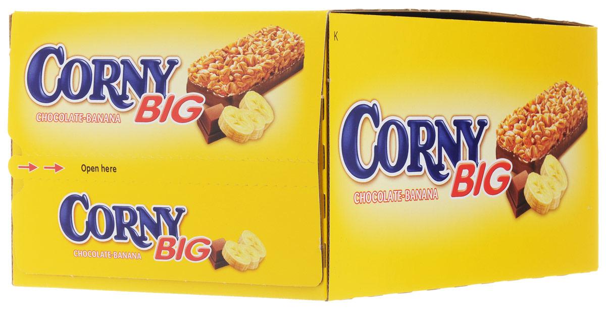 Corny Big злаковая полоска с бананом и молочным шоколадом, 24 шт0120710Злаковые батончики Corny – вкусная и здоровая альтернатива традиционным снэкам – шоколадным плиткам, чипсам и булкам. Батончики сочетают в себе исключительную пользу и удобство. В их состав входят злаки, орехи, фрукты и шоколад. Разнообразие видов позволяет каждому выбрать батончик по своему вкусу. Медленные углеводы заряжают полезной энергией, а удобная форма и упаковка соответствуют быстрому ритму жизни.