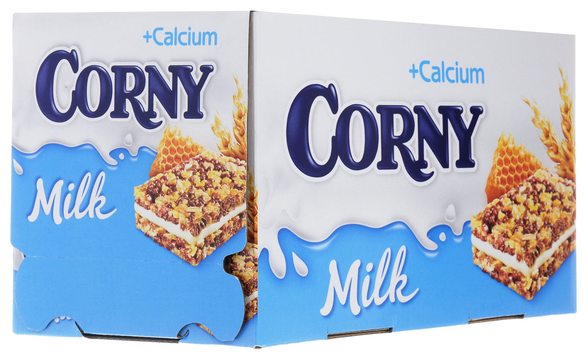 Corny Milk злаковый батончик с молочным наполнителем и медом, 24 шт0120710Злаковые батончики Corny - вкусная и здоровая альтернатива традиционным снэкам - шоколадным плиткам, чипсам и булкам. Батончики сочетают в себе исключительную пользу и удобство. В их состав входят злаки, орехи, фрукты и шоколад. Разнообразие видов позволяет каждому выбрать батончик по своему вкусу. Медленные углеводы заряжают полезной энергией, а удобная форма и упаковка соответствуют быстрому ритму жизни.