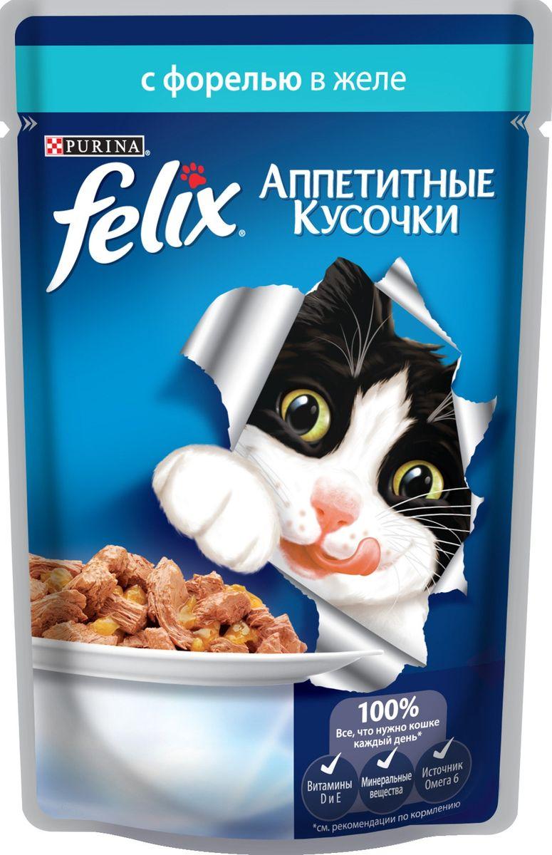 Консервы для кошек Felix Аппетитные кусочки, с форелью в желе, 85 г0120710Консервы для кошек Felix Аппетитные кусочки - это полнорационный корм для кошек. У него такой аппетитный вид и аромат, словно его приготовили вы сами. Felix Аппетитные кусочки создан по специально разработанной рецептуре: это нежнейшие кусочки с рыбой, покрытые сочным желе. Ваш кот будет готов есть такую вкуснятину хоть каждый день - на завтрак, обед и ужин.Рекомендации по кормлению: Для взрослой кошки среднего веса (4 кг) требуется примерно 3 пакетика в день. Кормление желательно разделить на два приема. Для беременных или кормящих кошек кормление без ограничений. Подавать корм при комнатной температуре. Следите, чтобы у вашей кошки всегда была чистая, свежая питьевая вода.Условия хранения: Закрытую упаковку хранить при температуре от +4°C до +35°C и относительной влажности воздуха не более 75%. После открытия продукт хранить в холодильнике максимум 24 часа. Состав: мясо и продукты его переработки 17%, экстракт растительного белка, рыба и продукты ее переработки (в том числе форель мин.4%), минеральные вещества, сахара, витамины. Добавленные вещества: МЕ/кг: Витамины: А 725, D3 110, витамин Е 16; мг/кг железо 25,5, йод 0,32, медь 2,8, марганец 5,0, цинк 40, таурин 450. Гарантируемые показатели: влажность 80,0%, белок 13,0%, жир 3,0%, сырая зола 2,2%, сырая клетчатка 0,5%, линолевая кислота (Омега 6): 0,2%.Вес: 85 г.Товар сертифицирован.
