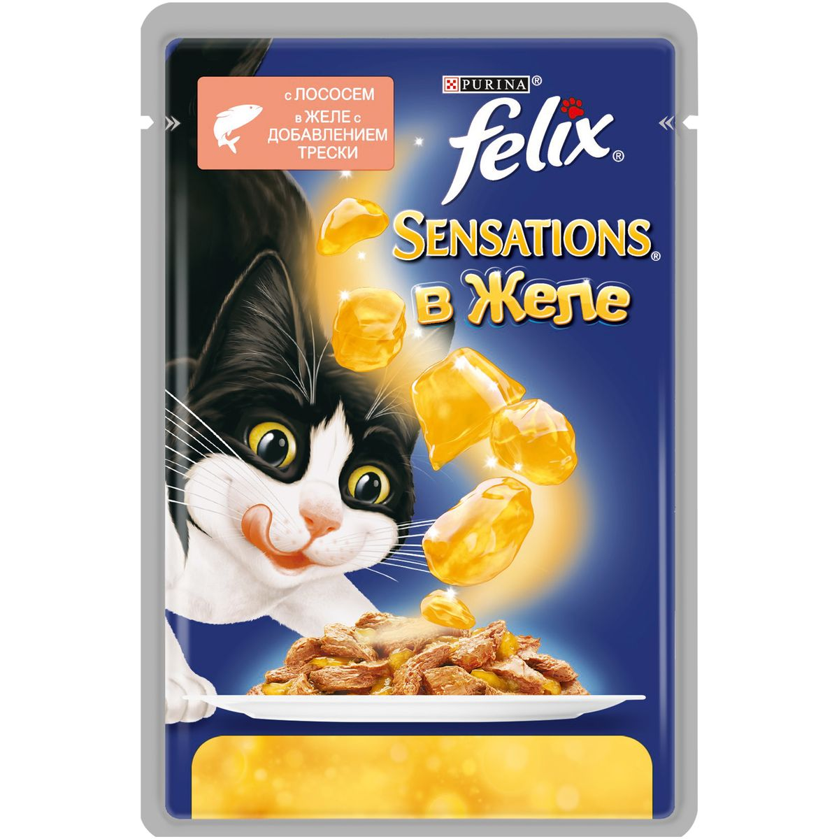 Консервы для кошек Felix Sensations, с лососем в желе со вкусом трески, 85 г101246Консервированный корм для кошек Felix с лососем в желе со вкусом трески - полнорационный корм для взрослых кошек. У него такой аппетитный вид и аромат, словно его приготовили вы сами. Корм создан по специально разработанной рецептуре: это нежнейшие кусочки с мясом или рыбой, покрытые сочным желе. Ваш кот будет есть такую вкуснятину хоть каждый день - на завтрак, обед и ужин. Рекомендации по кормлению: Для взрослой кошки среднего веса (4кг) требуется примерно 3 пакетика в день. Кормление желательно разделить на два приема. Для беременных или кормящих кошек кормление без ограничений. Подавать корм при комнатной температуре. Следите, чтобы у вашей кошки всегда была чистая, свежая питьевая вода.Состав: мясо и продукты переработки мяса (17%), экстракт растительного белка, рыба и рыбные субпродукты (лосось 4%, треска 1%), минеральные вещества, сахара, красители, витамины. Добавленные вещества: МЕ/кг: витамин A: 720, витамин D3: 110, витамин Е: 15;мг/кг: железо: 8, йод: 0,2, медь: 0,7, марганец: 1,6, цинк: 15. Гарантируемые показатели: белок 13,0%, жир 3,0%, сырая зола 2,2%, сырая клетчатка 0,5%, линолевая кислота (Омега 6 жирные кислоты) 0,2%, таурин 0,045%.Товар сертифицирован.