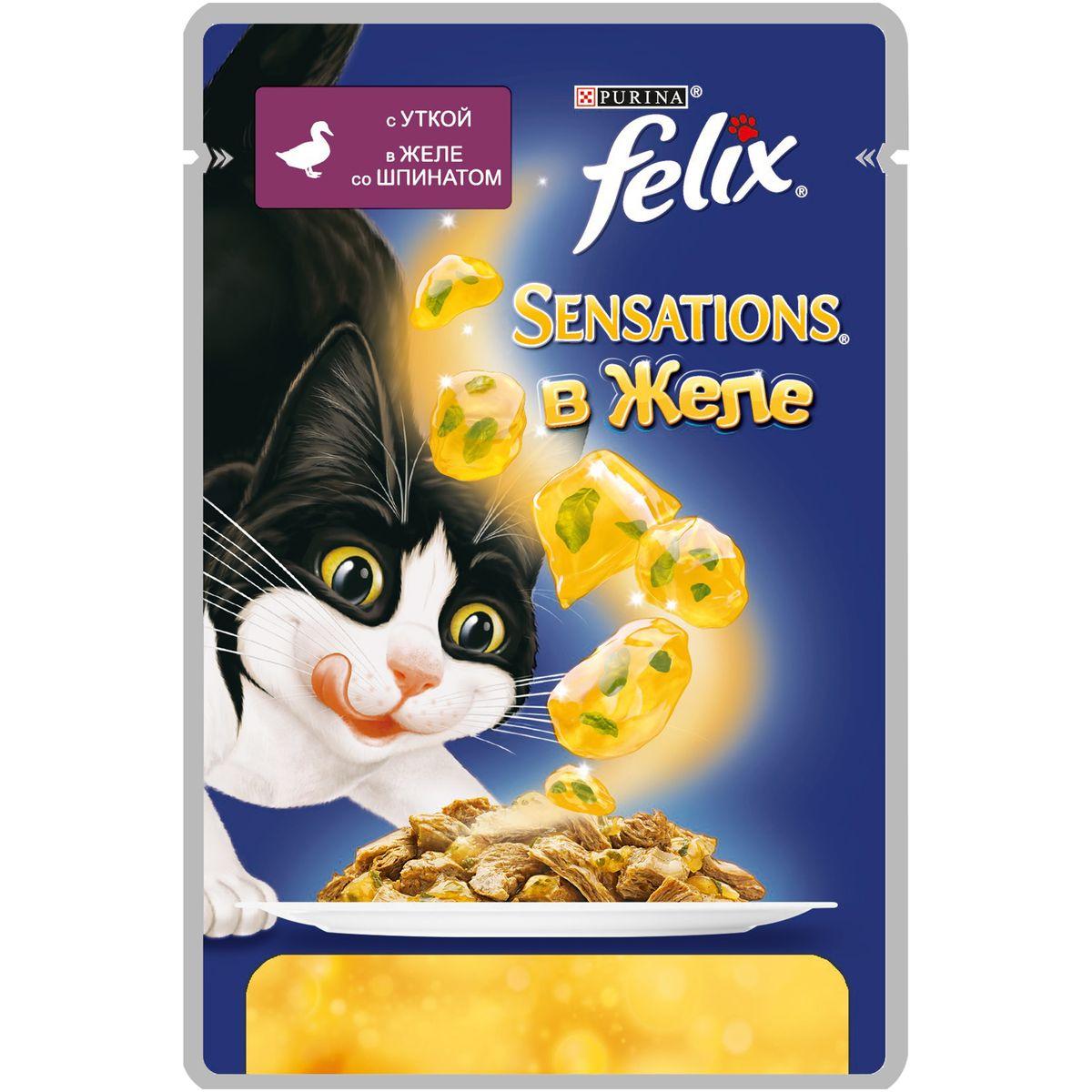 Консервы для кошек Felix Sensations, с уткой в желе со шпинатом, 85 г0120710Консервированный корм для кошек Felix с уткой в желе со шпинатом - полнорационный корм для взрослых кошек. Это нежные кусочки с мясом или рыбой, покрытые сочным желе с разными вкусами: томатов, моркови, шпината и других. Ароматные желе делают вкус корма особенно аппетитным и привлекательным для вашего питомца. Ваш кот будет есть такую вкуснятину хоть каждый день - на завтрак, обед и ужин. Рекомендации по кормлению: Для взрослой кошки среднего веса (4 кг) требуется примерно 3 пакетика в день. Кормление желательно разделить на два приема. Для беременных или кормящих кошек кормление без ограничений. Подавать корм при комнатной температуре. Следите, чтобы у вашей кошки всегда была чистая, свежая питьевая вода.Вес: 85 г. Состав: мясо и продукты переработки мяса (19%, из которых утка 4%), экстракт растительного белка, рыба и рыбные субпродукты, овощи (шпинат 4% в желе), минеральные вещества, сахара, витамины.Добавленные вещества: МЕ/кг: витамин A: 720, витамин D3: 110, витамин Е: 15;мг/кг: железо: 8, йод: 0,2, медь: 0,7, марганец: 1,6, цинк: 15. Гарантируемые показатели: белок: 13,0%, жир: 3,0%, сырая зола: 2,2%, сырая клетчатка: 0,5%, линолевая кислота: (Омега 6 жирные кислоты):0,2%, таурин: 0,045%.Товар сертифицирован.