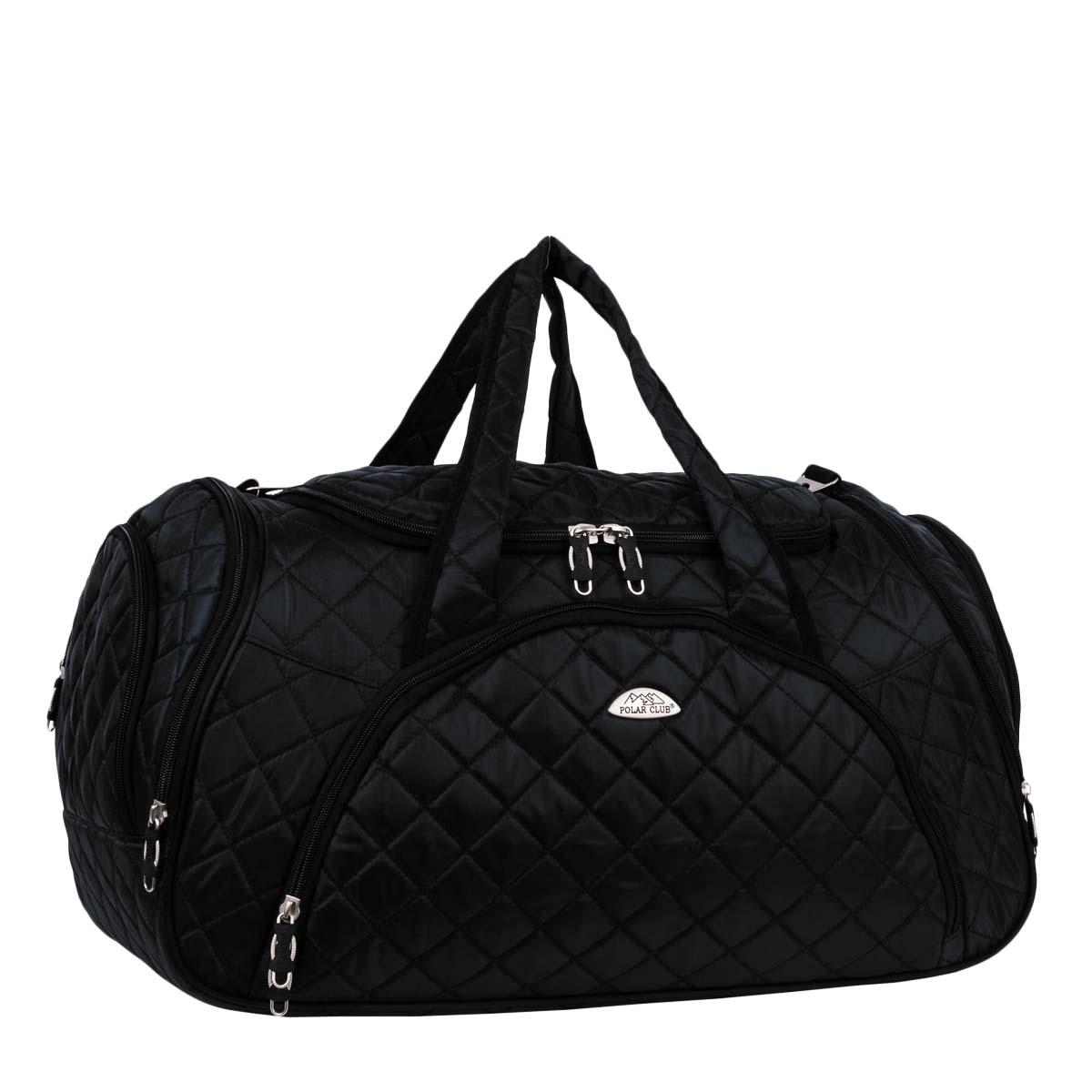 Сумка дорожная Polar, цвет: черный, 57 л. 7035.1Костюм Охотник-Штурм: куртка, брюкиДорожная сумка Polar выполнена из полиэстера. Имеет одно вместительное отделение для крупных предметов и вещей, которое закрывается на молнию. Спереди и по бокам сумки расположены карманы на молнии для средних и мелких предметов. В комплект входит плечевой ремень и замочек с ключом. Хороший вариант для поездок на несколько дней и командировок.