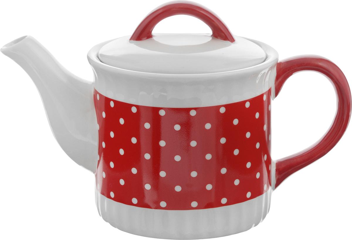 Чайник заварочный Loraine Красный узор, 730 мл507842Заварочный чайник Loraine Красный узор изготовлен из высококачественной керамики и оформлен красочным рисунком. Гладкая и идеально ровная поверхность обеспечивает легкую очистку. Чайник поможет заварить крепкий ароматный чай и великолепно украсит стол к чаепитию. Не боится низких температур. Можно мыть в посудомоечной машине.Высота чайника (без учета крышки): 10,5 см. Высота чайника (с учетом крышки): 15 см. Диаметр чайника (по верхнему краю): 12 см. Диаметр основания: 11 см.