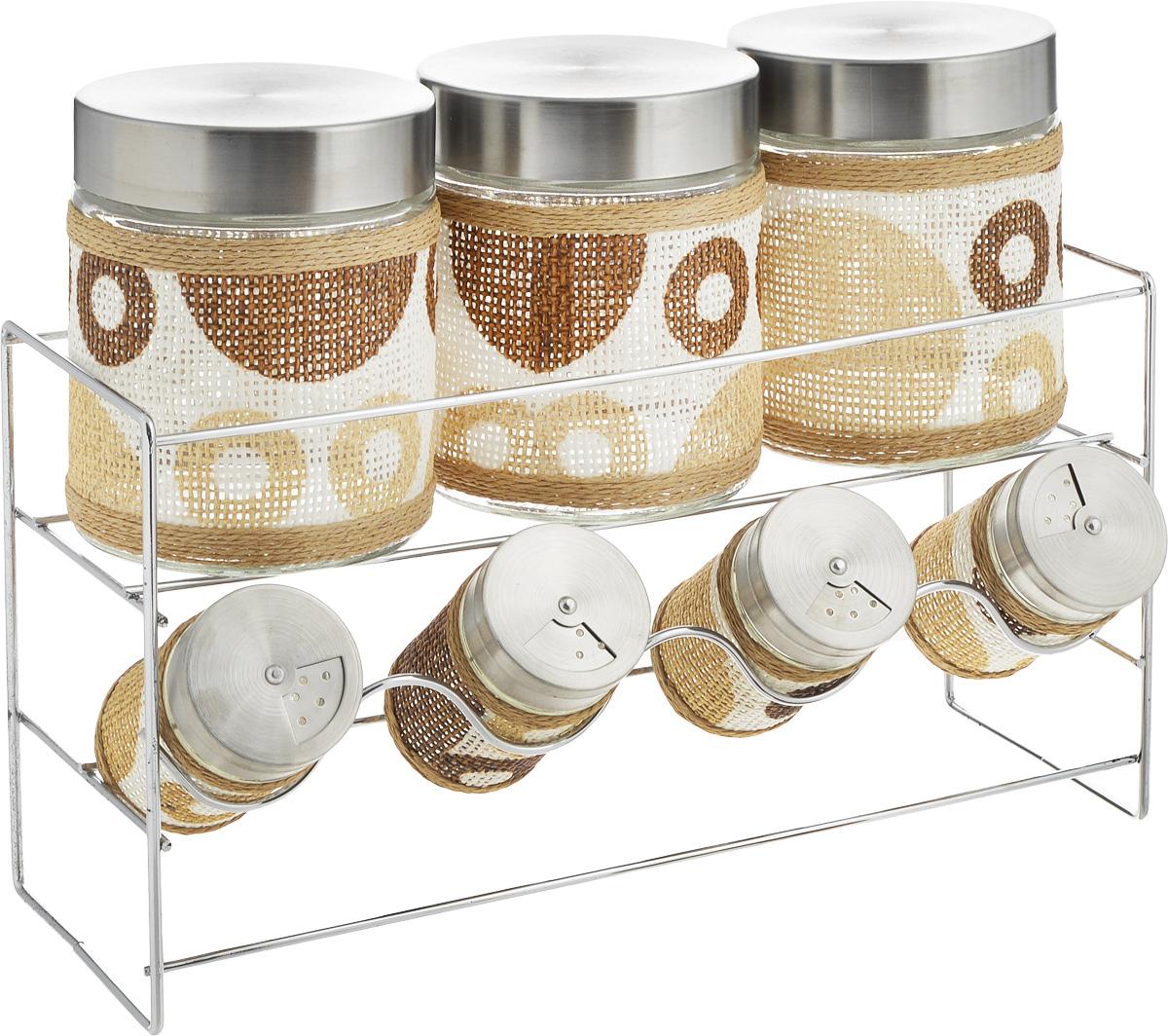 Набор банок для сыпучих продуктов и специй Patricia Круги, с подставкой, 8 предметов. IM99-3906FA-5125 WhiteНабор Patricia Круги состоит из 4 банок для специй и 3 для сыпучих продуктов. Банки выполнены из высококачественного стекла и декорированы оригинальной вставкой. Крышки, выполненные из металла, плотно закрываются и предотвращают высыпание специй. Имеются регулируемые отверстия, с помощью которых можно обильно или слегка приправить блюдо. Баночки идеально подойдут для соли, перца и других специй. Изделия размещаются на специальной подставке. Оригинальный набор эффектно украсит интерьер кухни, а также станет незаменимым помощником в приготовлении ваших любимых блюд. С таким набором специи надолго сохранят свежесть, аромат и пряный вкус. Не рекомендуется мыть в посудомоечной машине и использовать в микроволновой печи. Высота баночек (с учетом крышек): 8,5 см, 12,5 см. Диаметр баночек: 3,5 см, 8 см. Размер подставки: 32 х 11 х 17 см.