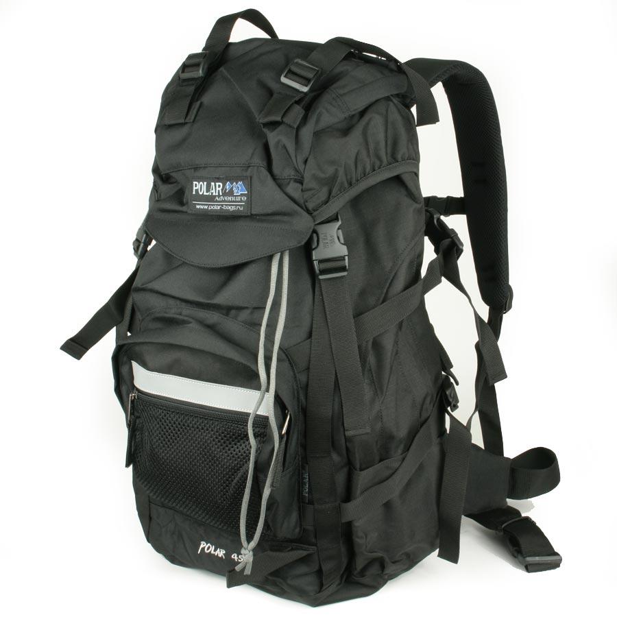 Рюкзак экспедиционный Polar, 45 л, цвет: черный. П301-0557263Фирменный туристический рюкзак фирмы Polar, Материал – полиэстер с водоотталкивающей пропиткой. Жесткая спинка с металлическим каркасом. Удобный лямки повторяющие форму плеча уменьшают нагрузку на спину и делают этот рюкзак очень удобным при эксплуатации. Так же предусмотрены грудная и поясничная стяжки лямок. На поясничной стяжке с левой стороны небольшой карман на молнии для мелких предметов. Одно отделение. Карман с органайзером и карманом из трикотажной сетки на молнии внутри. Карман из трикотажной сетки на молнии для мелких предметов. Два боковых кармана из основной ткани. Клапан с двумя карманами на молнии. Стяжки для регулирования объема. Этот рюкзак идеально подойдет для недолговременных походов и позволит Вам взять с собой все необходимое.