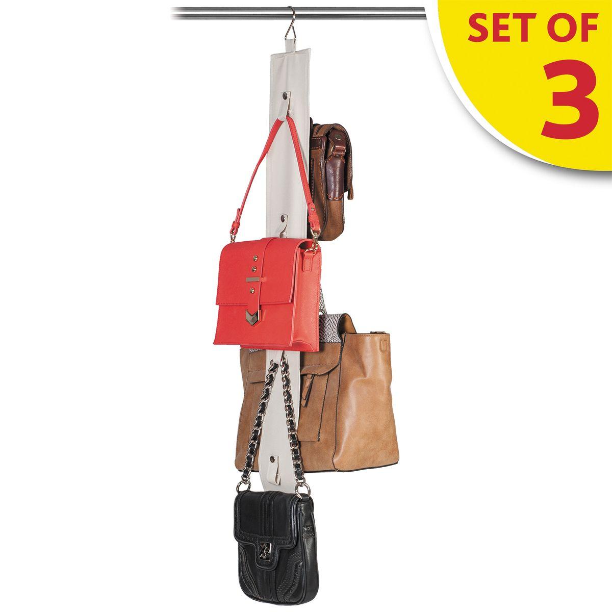 Набор органайзеров для хранения сумок в шкафу Tatkraft Roo, 3 штS03301004Tatkraft ROO Набор из трех органайзеров для хранения сумок в шкафу. Двусторонняя лента с вешалкой и 8 ремнями-петлями на кнопках для хранения сумок, кепок, бижутерии. Компактное хранение, экономит место. Размер:10?87 см.