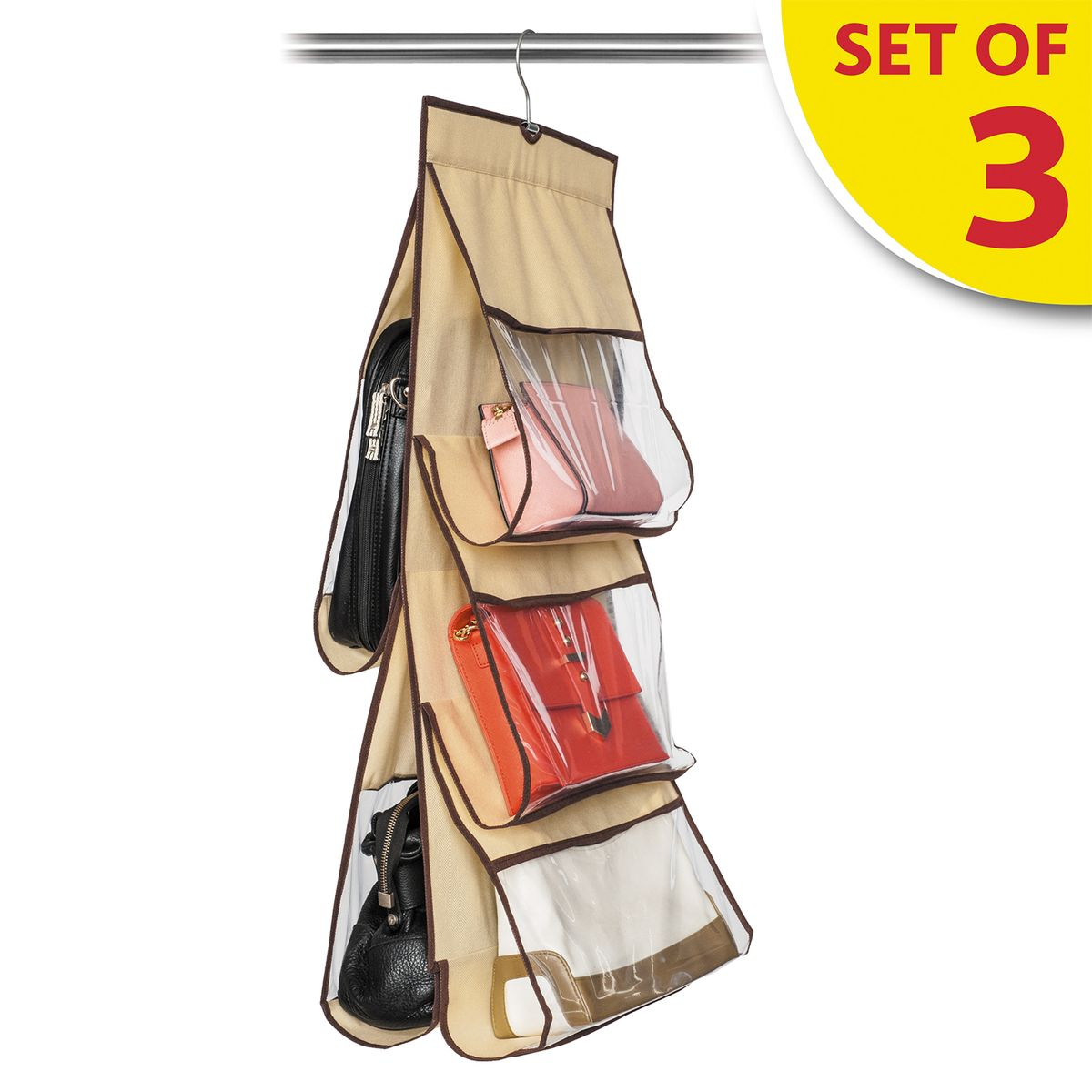 Набор органайзеров для хранения сумок в шкафу Tatkraft Kanga, 3 штBH-UN0502( R)Набор Tatkraft Kanga состоит из трех органайзеров для хранения сумок в шкафу. Двусторонний, 5 чехлов-отделений: 2 больших, 3 средних. Мягкий материал защищает кожу от повреждений, прозрачное окошко облегчает поиск сумки. Компактное, удобное и бережное хранение.