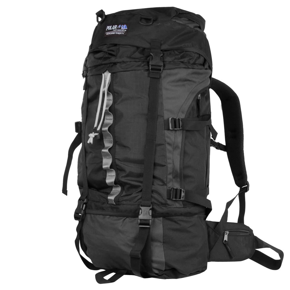 Рюкзак экспедиционный Polar, 50 л, цвет: черный. П931-051138_8680Туристический рюкзак фирмы Polar. Объем на 50 л. Отлично оснащенный рюкзак для альпинизма и туризма. Двойной доступ к основному отделению, множество карманов для мелочей и документов, карабин для ключей, карман для мобильного. Возможность крепления на рюкзак дополнительного оборудования. Регулируемая грудная стяжка с фиксатором. Регулируемый по длине поясной ремень с карманами на змейке. Материал: Polyester PU 600D.