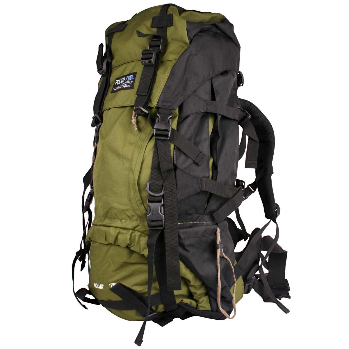 Рюкзак экспедиционный Polar, 70 л, цвет: темно-зеленый. П992-0867742Туристический рюкзак фирмы Polar. Отлично оснащенный рюкзак для альпинизма и туризма. Двойной доступ к основному отделению, множество карманов для мелочей и документов, карабин для ключей, карман для мобильного. Возможность крепления на рюкзак дополнительного оборудования. Регулируемая грудная стяжка с фиксатором. Регулируемый по длине поясной ремень с карманами на змейке. Материал: Polyester PU 600D.
