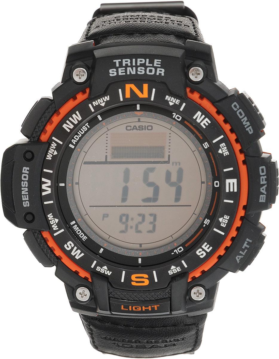 Часы наручные Casio, черный, оранжевый. SGW-1000B-4ABM8434-58AEНаручные часы Casio произведены опытными специалистами из материалов самого высокого качества на базе новейших технологий. Часы прошли тщательную проверку и контроль качества.Часы оснащены кварцевым механизмом. Корпус выполнен из высококачественной нержавеющей стали с пластиковыми вставками. Дисплей часов защищен минеральным стеклом, устойчивым к появлению царапин и подсвечивается светодиодом, функция автоподсветки освещает циферблат при повороте часов к лицу. Ремешок часов выполнен из прочного текстиля и вставок из кожи и оснащен застежкой-пряжкой. Часы имеют дополнительные функции: мировое время, индикатор даты, цифровой компас, барометр, термометр, альтиметр, секундомер, таймер, будильник. Модуль часов рассчитан на работу при низких температурах. Часы укомплектованы паспортом с подробной инструкцией и упакованы в оригинальную фирменную коробку.Характеристики: Длина ремешка (с учетом корпуса): 25 см.Ширина ремешка: 2 см.Диаметр корпуса: 5,5 см.Диаметр циферблата: 5,5 см. Дополнительные функции: Встроенный цифровой компас, альтимер - встроенный датчик барометрического давления с возможностью вывода результатов в единицах высоты над уровнем моря (от -700 до 10000 метров), память данных высотометра до 30 записей, барометр - измерение атмосферного давления от 260 до 1100 гПа (от 195 до 825 мм рт. ст.), термометр от -10° до +60°С с точностью 0,1°C. Время восхода и захода солнца, секундомер с точностью показаний 1/10с и временем измерения 1000ч, таймер обратного отсчета от 1мин до 24ч, мировое время, 12-ти и 24-х часовой формат времени, индикатор уровня заряда батареи, функция включения/отключения звука.