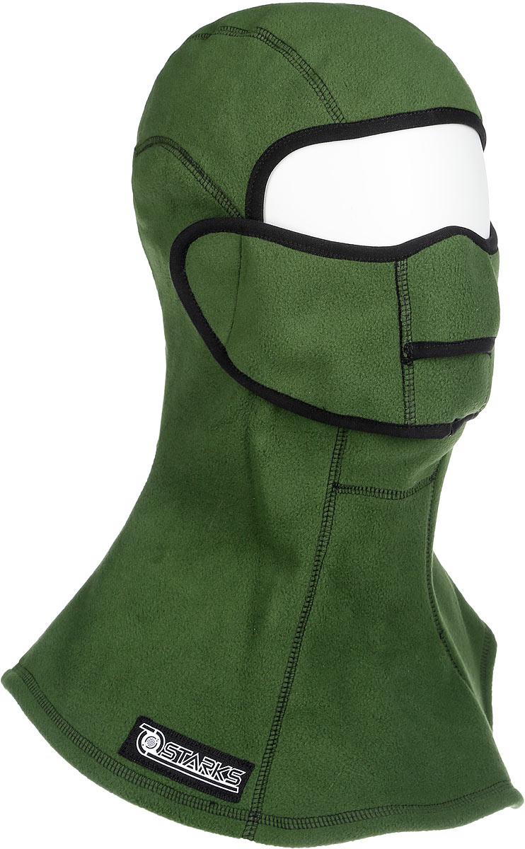 Подшлемник Starks Fleece Collar Open, с защитой шеи, цвет: зеленый. Размер S/MЛЦ0020Подшлемник Starks Fleece Collar Open предназначен для использования в условиях экстремального холода. Съемная лицевая часть позволяет легко открывать лицо. Подшлемник выполнен из высококачественного полиэстера. Изделие обеспечивает полную защиту лица и шеи от проницания влаги, холода, пыли. Снаружи и внутри флисовый ворс, который обеспечивает терморегуляцию, сохранение тепла, отведение влаги от лица к мембране и последующее выведение наружу. Защитная дышащая мембрана работает в обе стороны - изнутри сохраняет тепло, выводит влагу.Высота подшлемника: 41 см.Диаметр основания: 38 см.