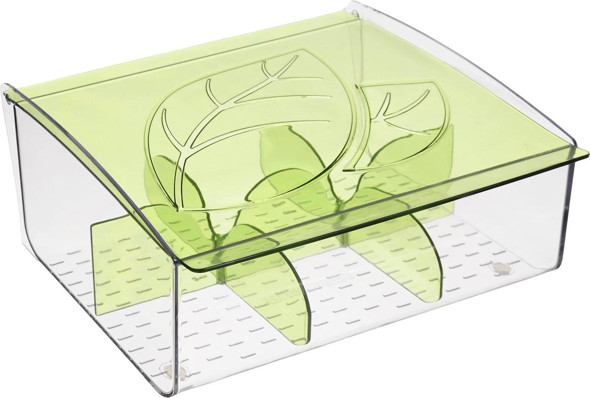 Коробка для чайных пакетиков Tescoma Mydrink, цвет: зеленый, прозрачный, 21,8 х 16,5 х 9,3 смVT-1520(SR)Коробка для чайных пакетиков Tescoma Mydrink изготовлена из прочного пластика. Изделие имеет 6 отделений для организованного хранения до 60 чайных пакетиков. Благодаря профилированному дну пакетики не скользят и не падают. Перегородки съемные, для более удобного мытья.Размер секции: 7 х 6,5 х 8 см.