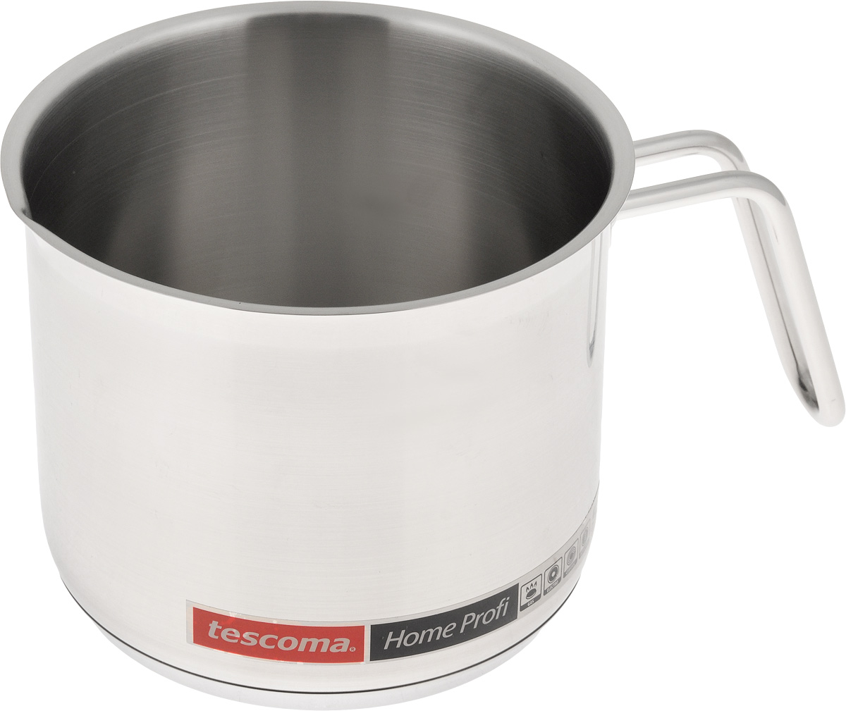 Ковш для молока Tescoma Home Profi, 1,8л68/5/4Ковш Tescoma Home Profi, изготовленный из первоклассной нержавеющей стали 18/10 с матовой полировкой, идеально подходит для кипячения молока, приготовления соусов и горячего шоколада.В таком ковше продукты не липнут к стенкам, равномерно приготавливаются, сохраняя все полезные микроэлементы. Тепло с плиты передается внутрь посуды постепенно, без скачков и равномерно по целой площади дна. Ковш снабжен массивной, и, вместе с тем, удобной рукояткой из нержавеющей стали, которая принимает на себя очень мало тепла. Массивное трехслойное термораспределительное дно способствует равномерному и быстрому нагреву, а также препятствует деформации ковша при длительном использовании.Подходит для использования на газовых, электрических, стеклокерамических и индукционных плитах. Можно мыть с применением обычных моющих средств, избегая при этом использования агрессивных химических веществ, абразивных и острых предметов, проволочных губок.Внутренний диаметр ковша: 14 см.Ширина ковша (с учетом ручки): 20,5 см.Высота ковша: 12,5 см.