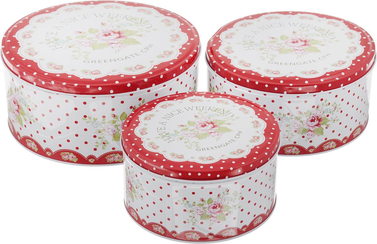 Набор банок для хранения Patricia Букет, 3 штVT-1520(SR)Набор Patricia Букет, выполненный из высококачественного железа, состоит из трех банок с плотно закрывающимися крышками. Изделия, декорированные яркими изображениями, имеют классическую круглую форму. Такие банки прекрасно подходят для хранения сахара, специй, круп, чая, конфет, орехов, печенья и других сыпучих продуктов. Также изделия можно использовать для хранения различных хозяйственных мелочей. Набор Patricia Букет впишется в любой интерьер современной кухни, а также станет практичным подарком для ваших близких. Диаметр малой банки (по верхнему краю): 13,5 см.Высота малой банки: 7,2 см. Диаметр средней банки (по верхнему краю): 16,7 см. Высота средней банки: 8 см. Диаметр большой банки (по верхнему краю): 19,5 см. Высота большой банки: 9 см.Объем банок: 950 мл, 1,6 л, 2,3 л.УВАЖАЕМЫЕ КЛИЕНТЫ!Обращаем ваше внимание, что объем банок измерен по факту, с учетом максимального наполнения до кромки.