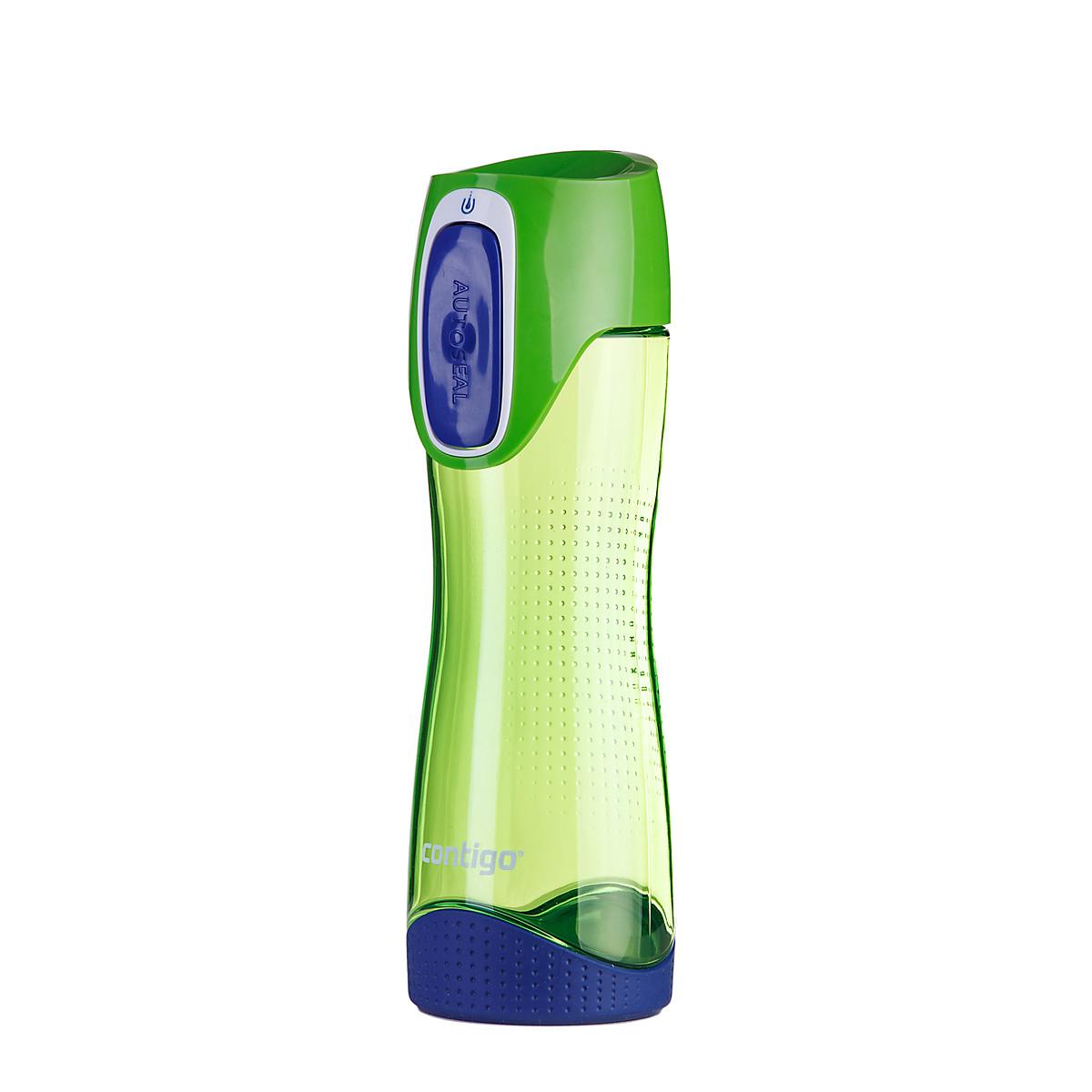 Бутылка для воды Contigo Swish, цвет: зеленый, синий, 550 млVT-1520(SR)Бутылка для воды Contigo Swish - это замечательный сюрприз как для родных и друзей, так и для себя.Практичная и комфортная форма, а также удобный размер позволит вам всегда носить ее с собой. Кроме того, чтобы попить из бутылки вам достаточно просто нажать на кнопку, а при отпускании ее крышка автоматически закроется, исключая вытекание воды. Такая система обеспечивает полную защиту вашей воды от попадания вредных и ненужных микроорганизмов.
